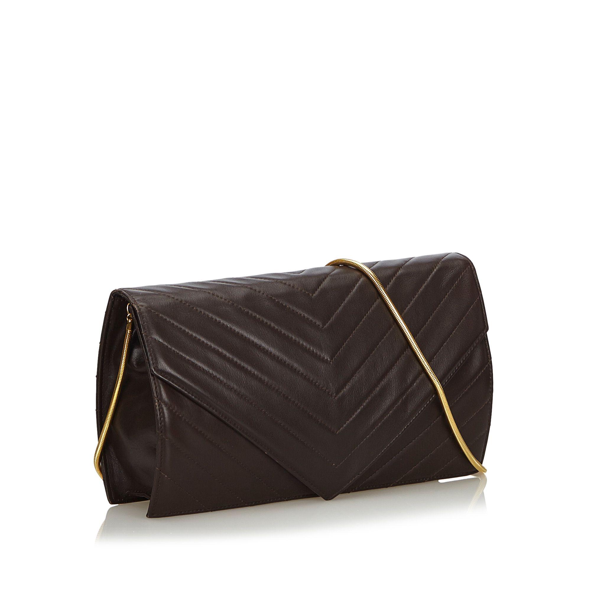 Vintage YSL Chevron Leather Chain Crossbody Bag Black
