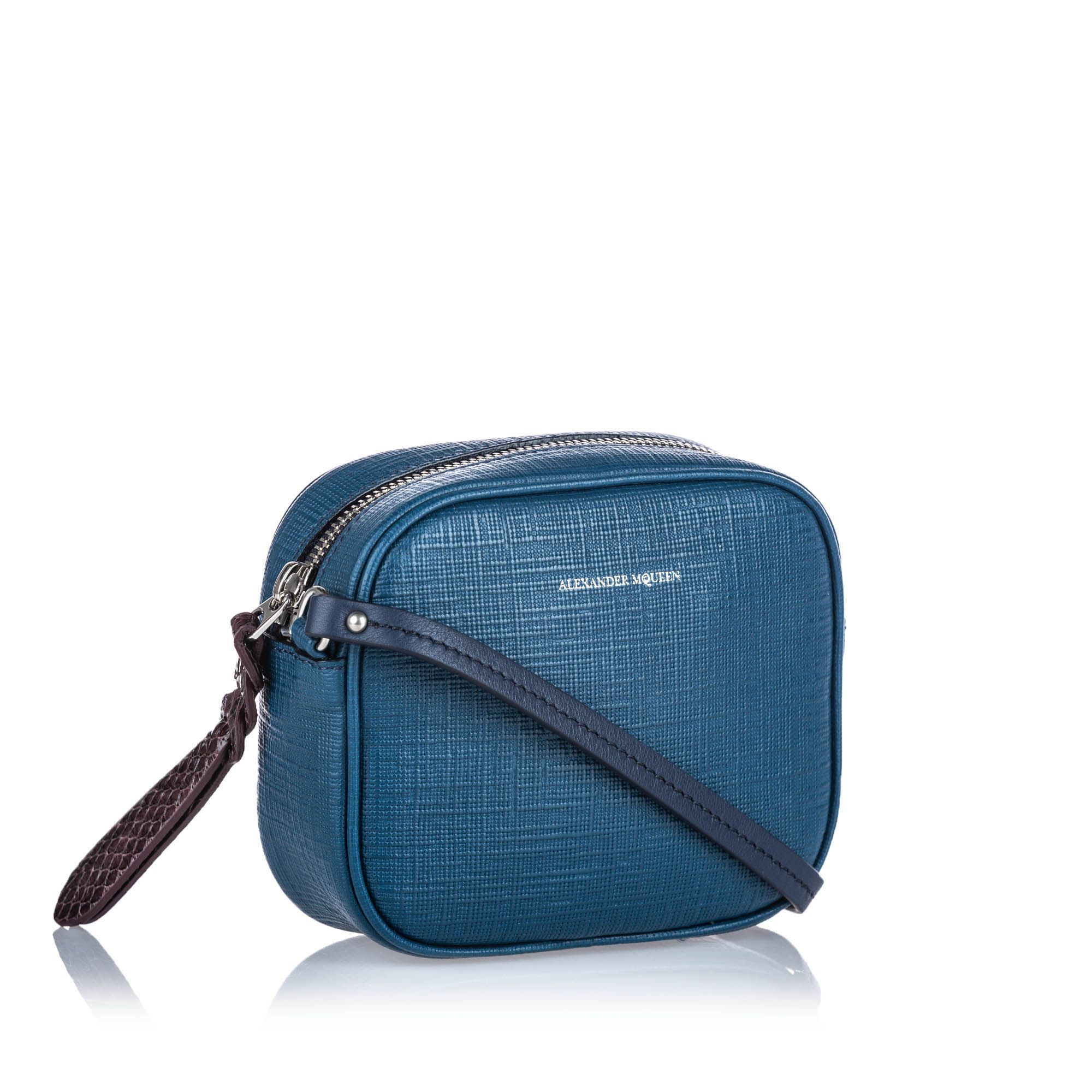 Vintage Alexander McQueen Mini Camera Bag Blue