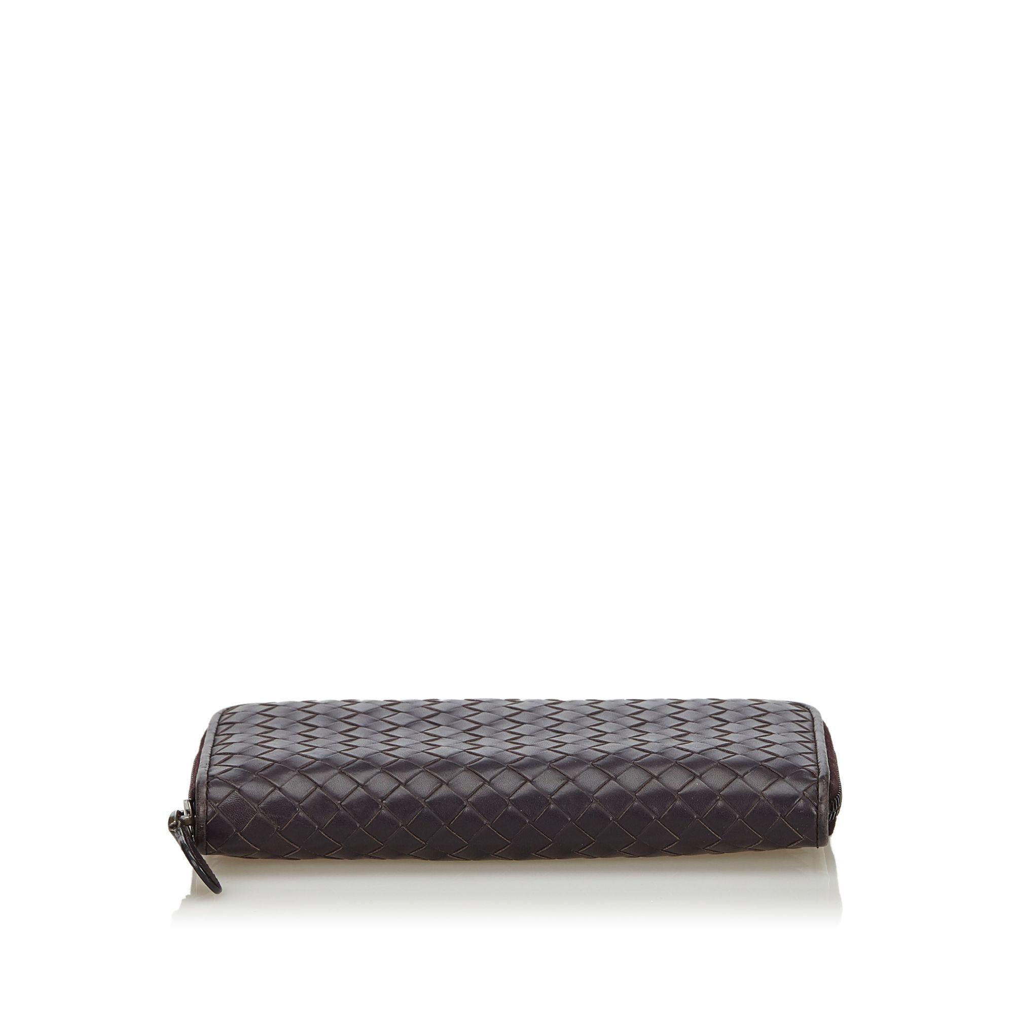 Vintage Bottega Veneta Intrecciato Zip Around Wallet Purple