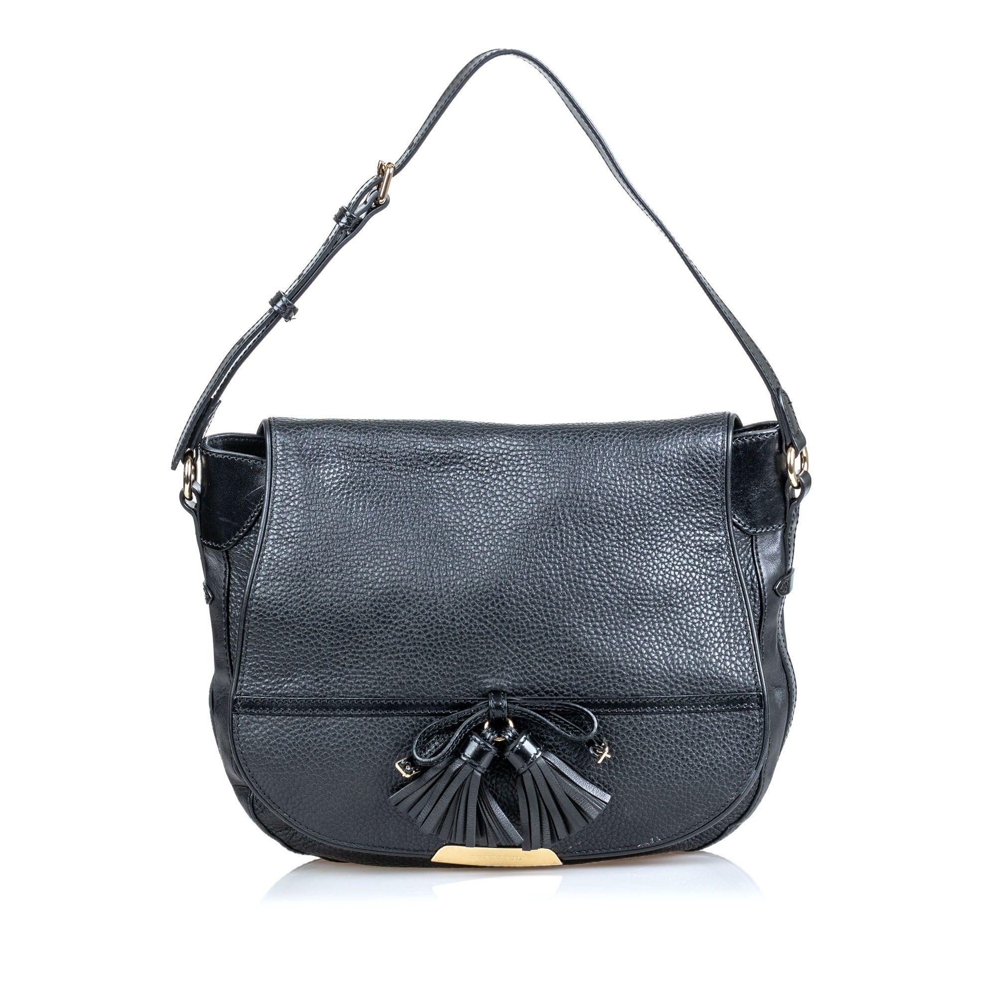 Vintage Burberry Leather Tassel Shoulder Bag Black