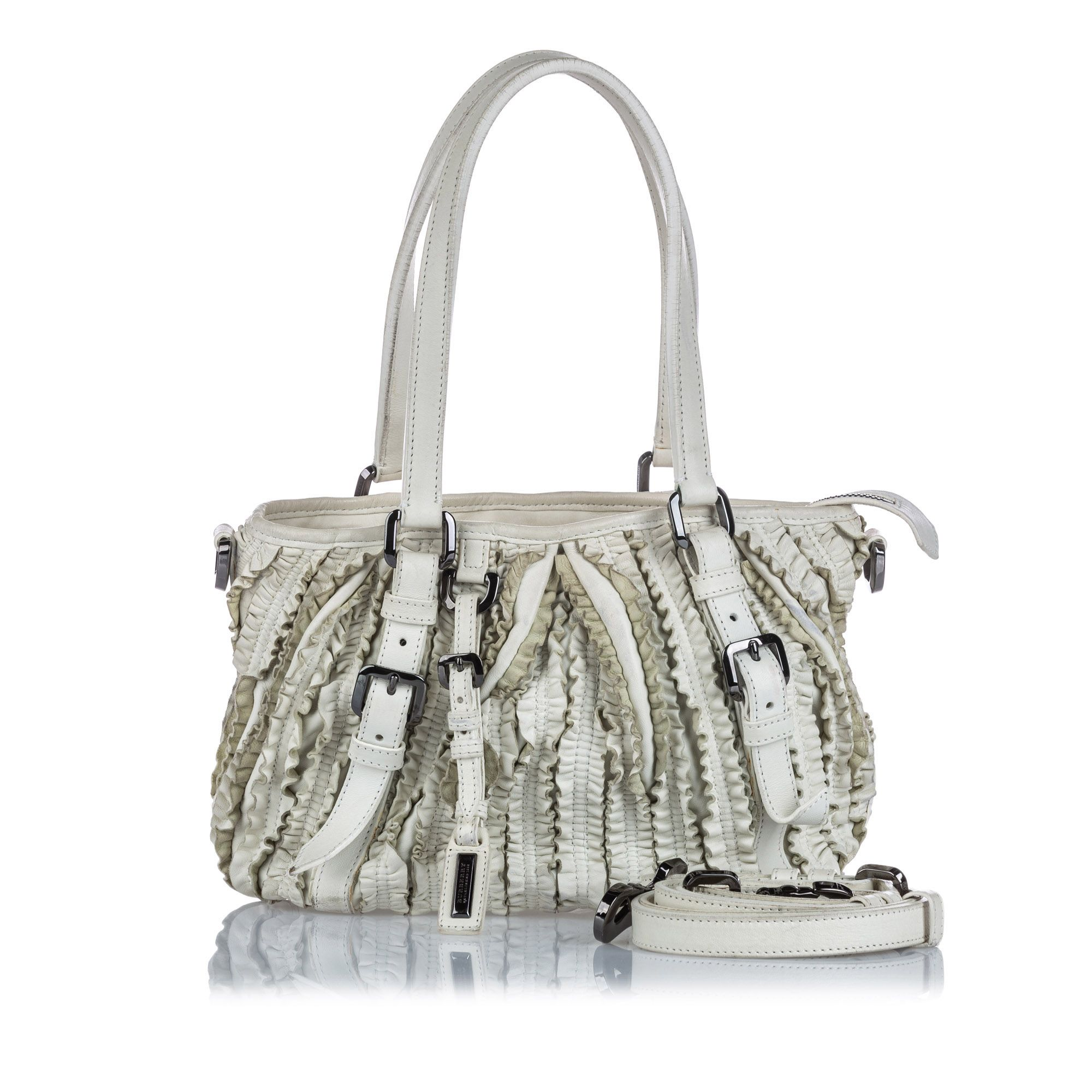 Vintage Burberry Leather Lowry Ruffled Satchel White