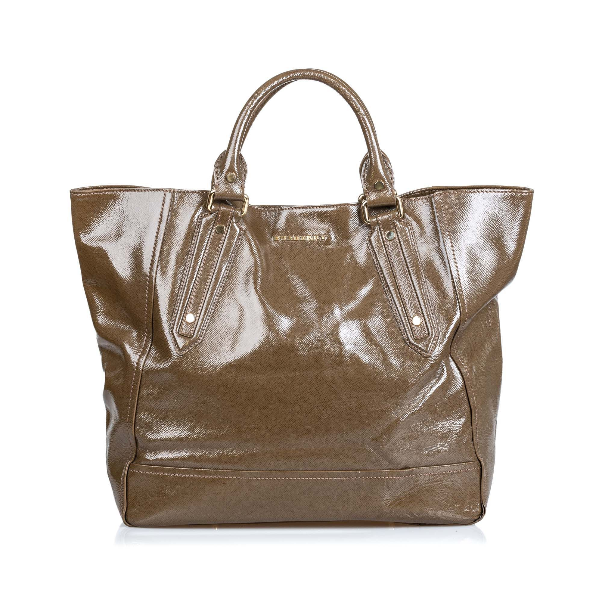 Vintage Burberry Patent Leather Somerford Tote Bag Brown