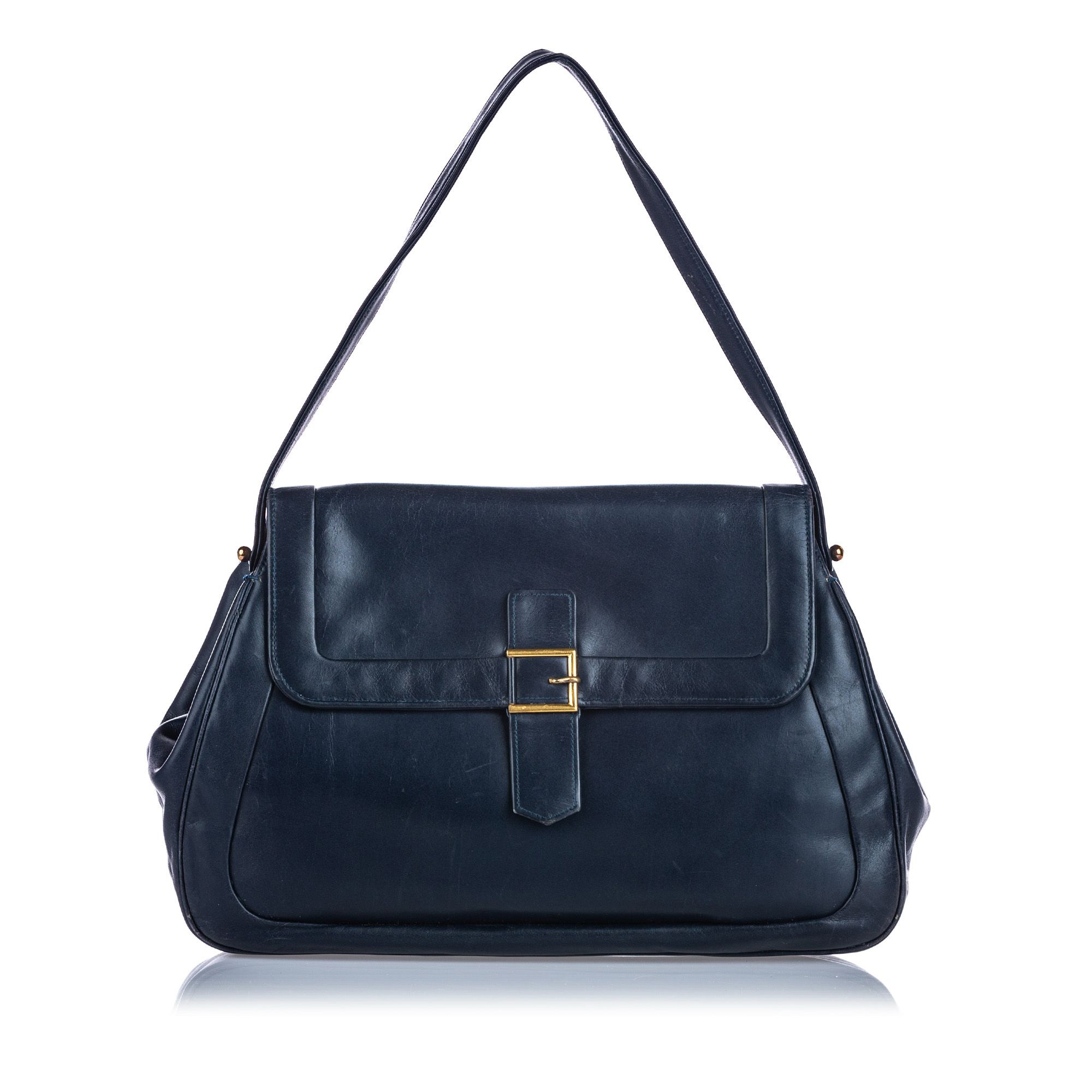 Vintage Dior Leather Shoulder Bag Blue