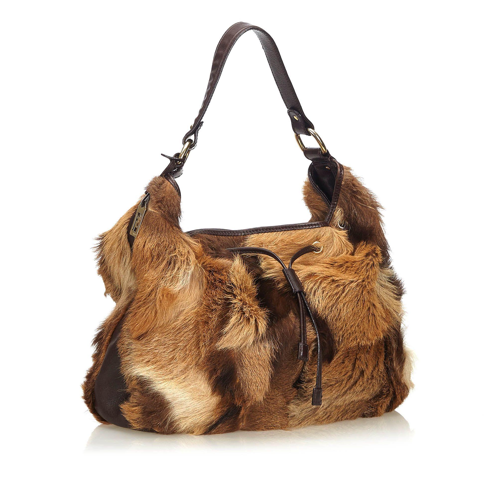 Vintage Fendi Fur Drawstring Shoulder Bag Brown