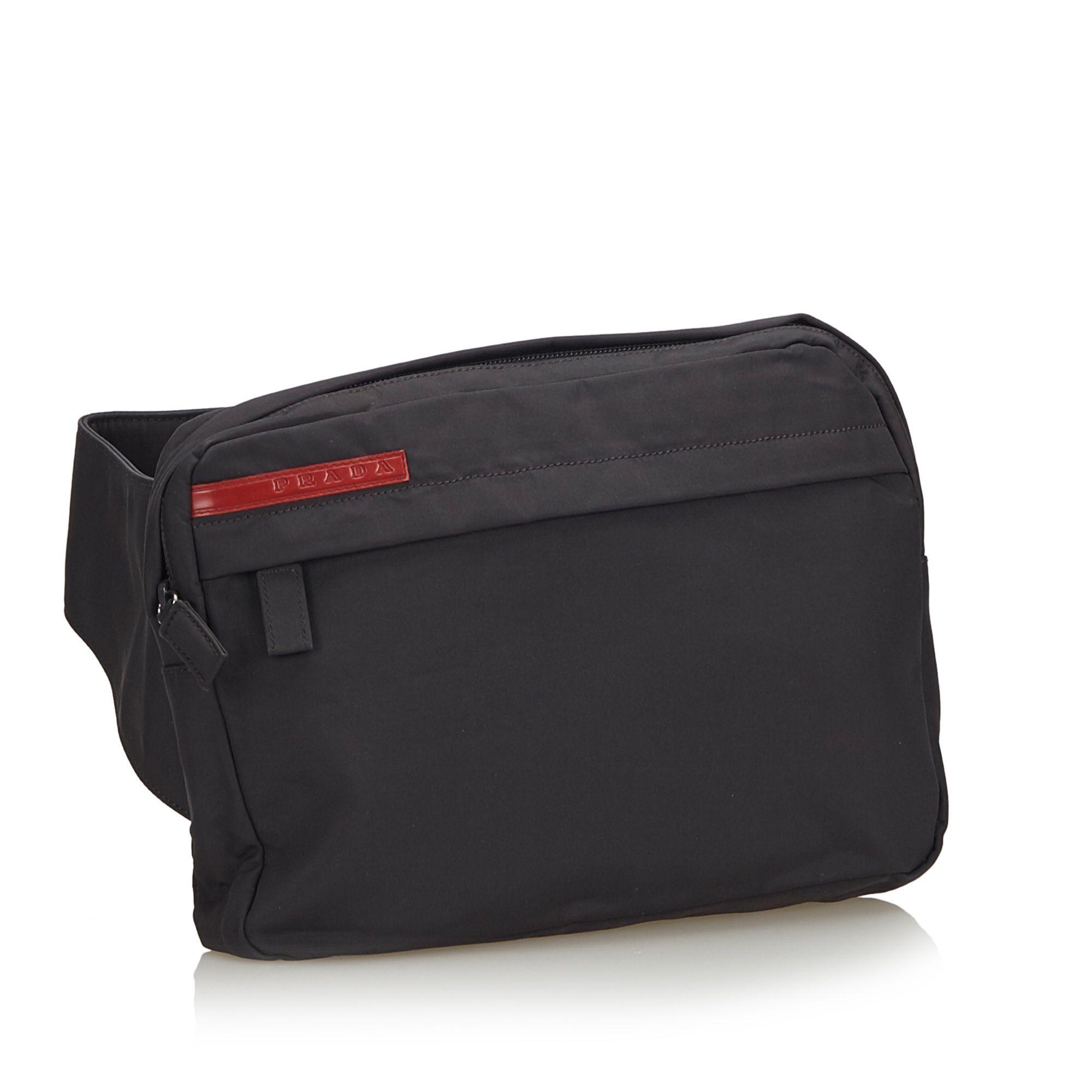 Vintage Prada Sports Nylon Belt Bag Black