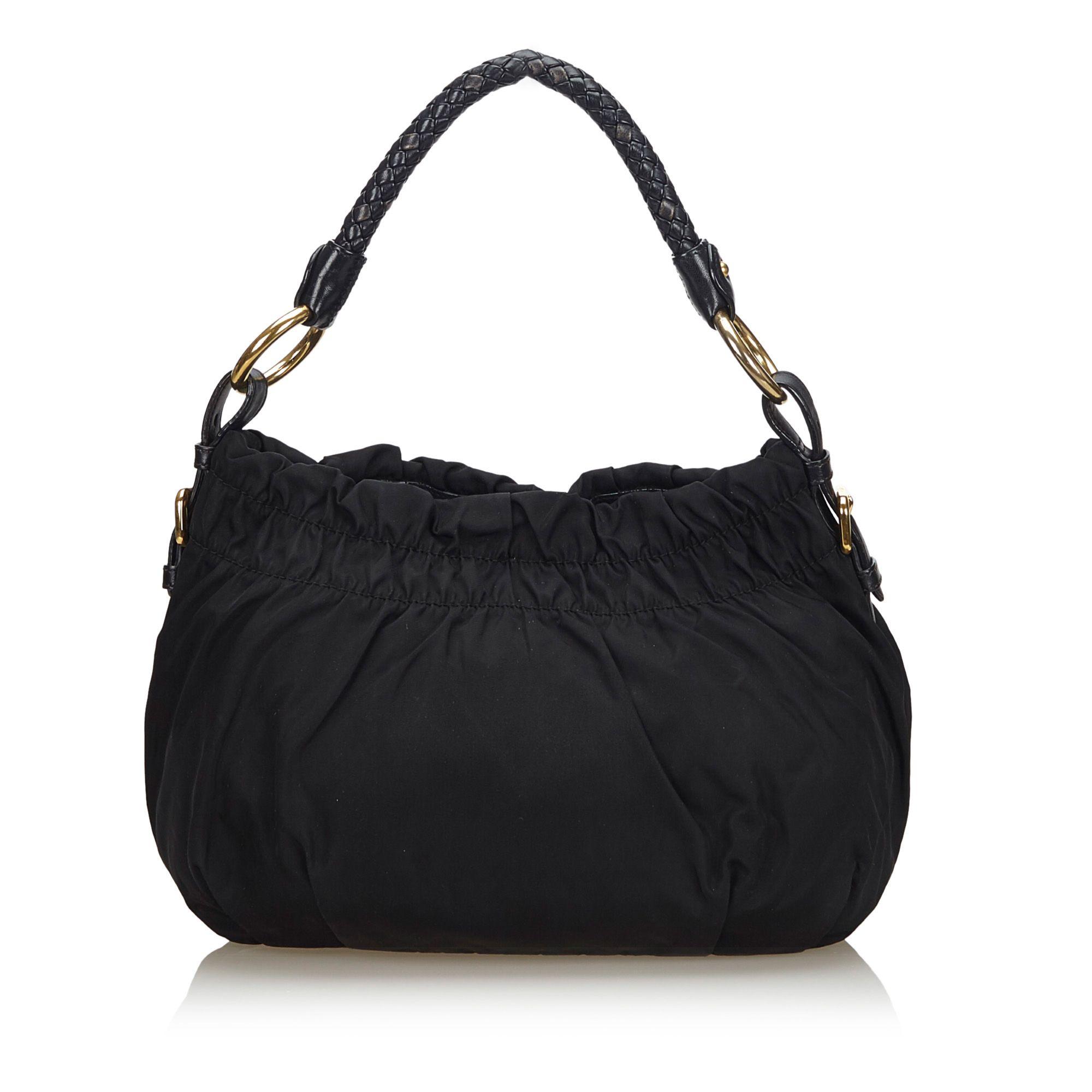 Vintage Prada Gathered Nylon Handbag Black