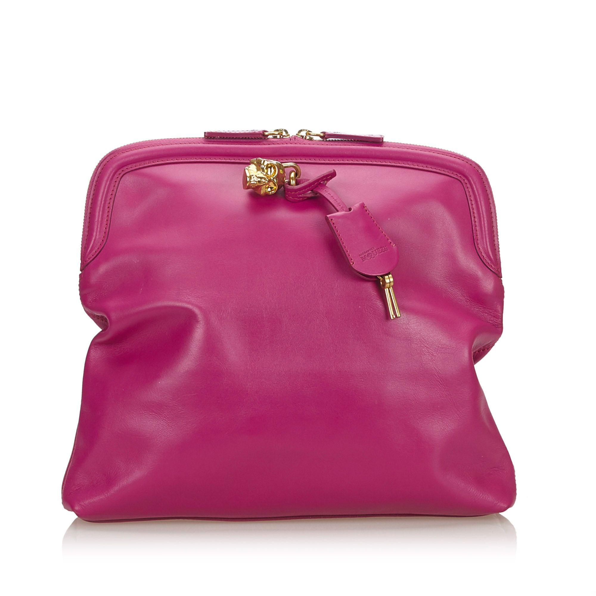 Vintage Alexander McQueen Skull Padlock Fold-over Clutch Bag Pink