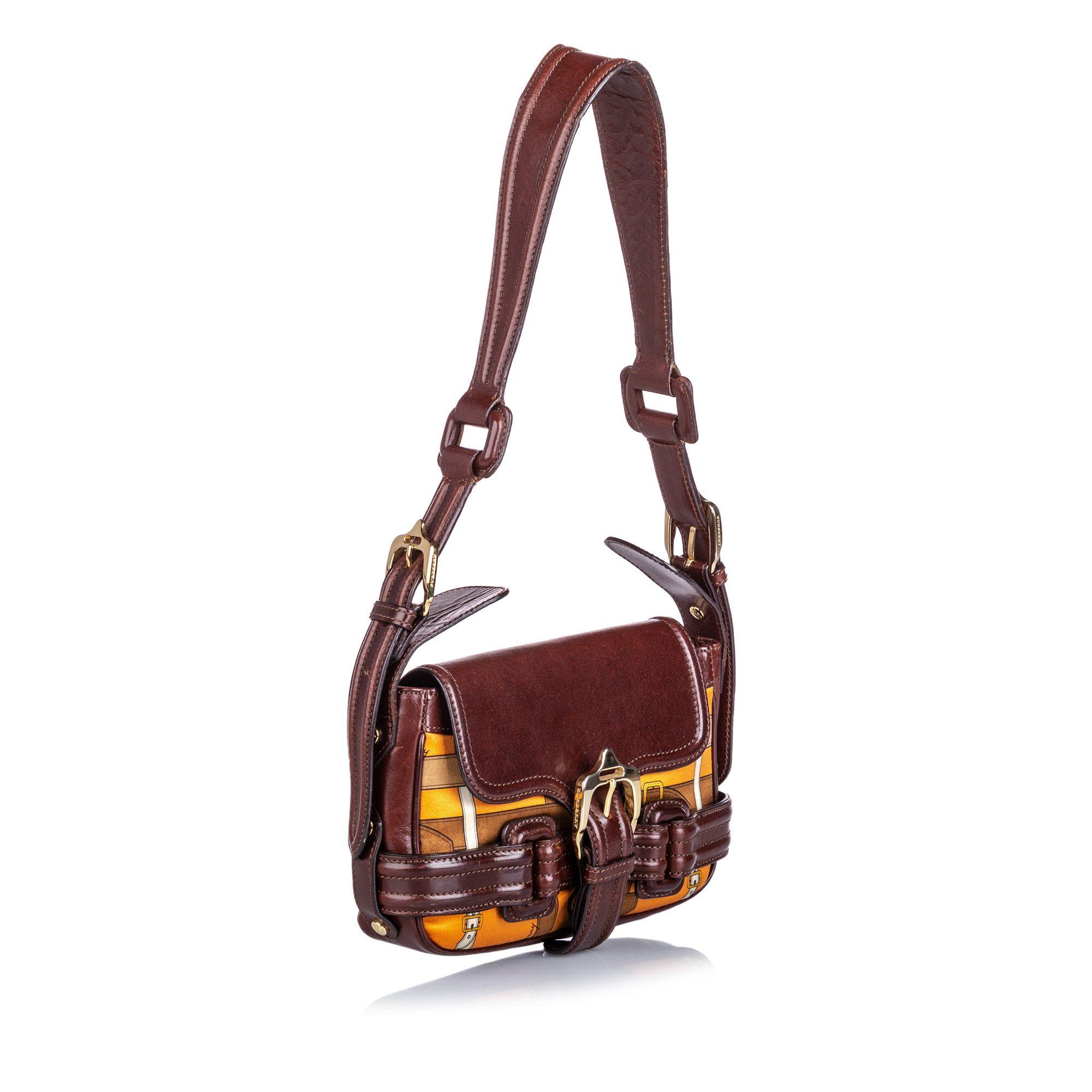 Vintage Burberry Printed Shoulder Bag Brown