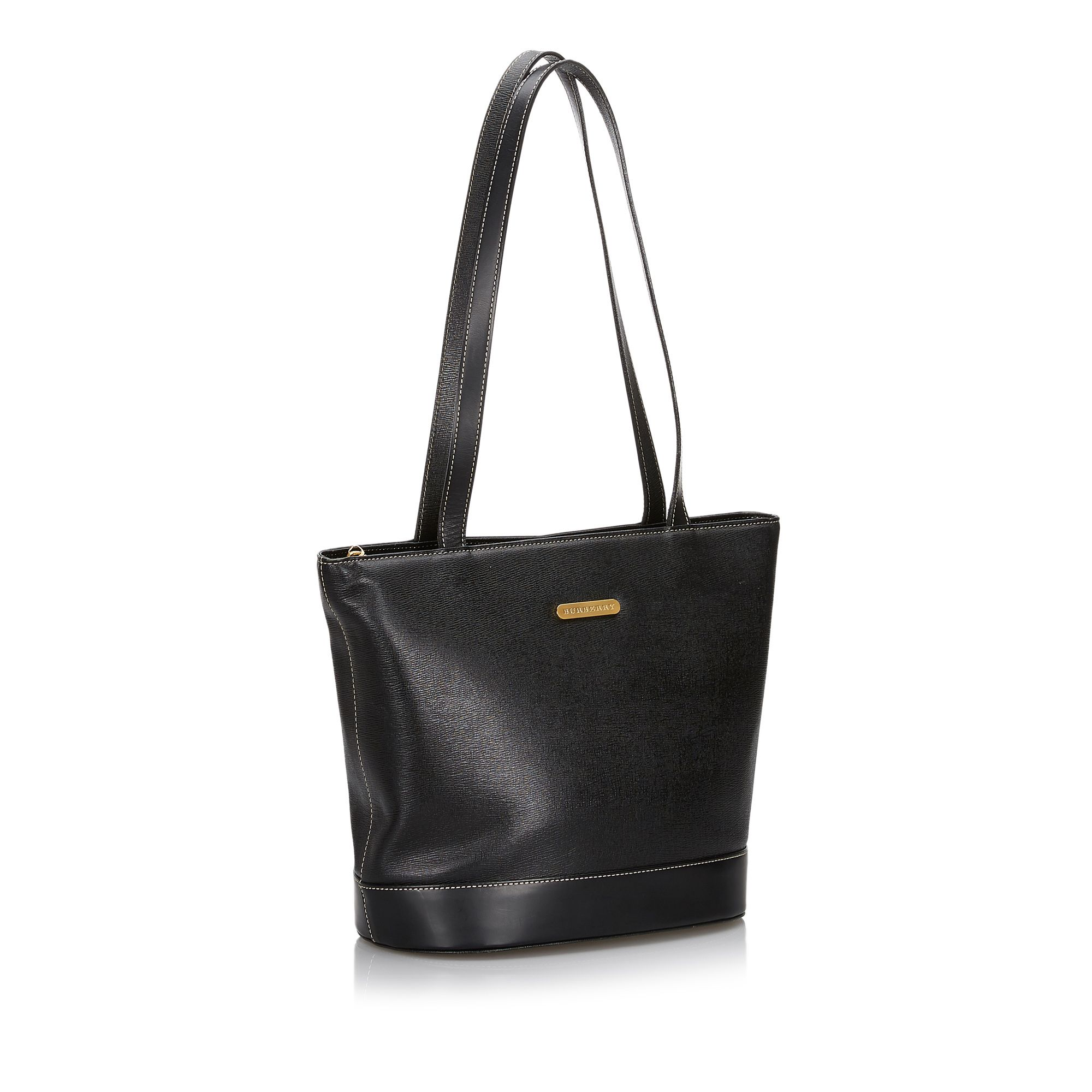 Vintage Burberry Leather Tote Bag Black