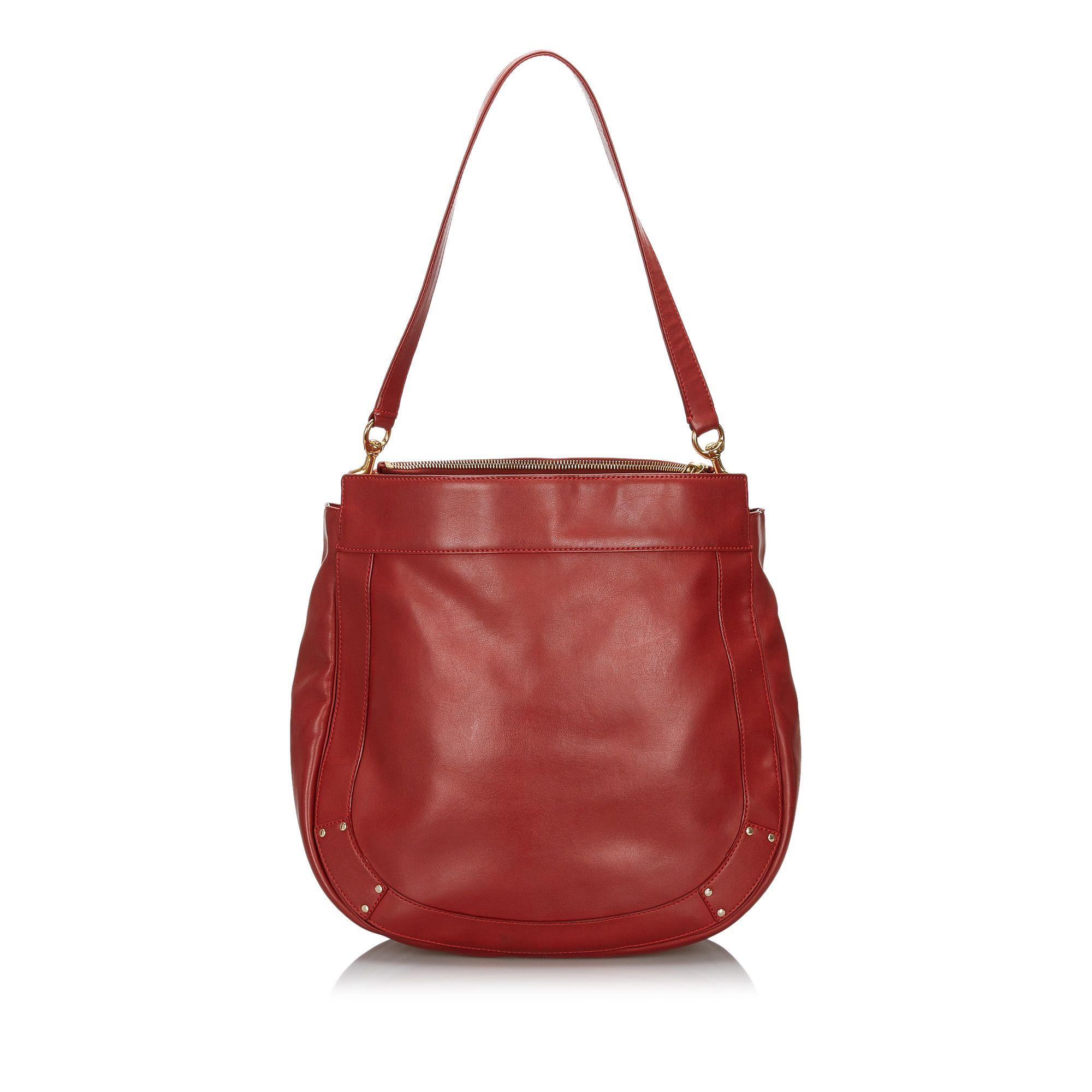 Vintage Chloe Leather Eden Tote Bag Red
