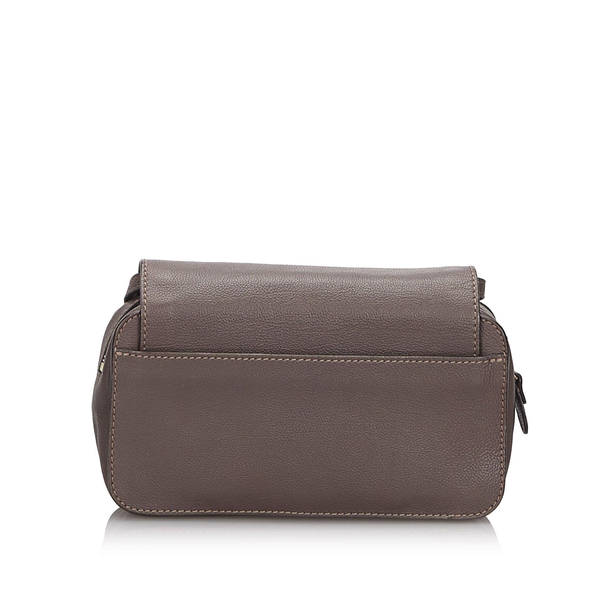 Vintage Chloe Mini Leather Elsie Crossbody Bag Brown
