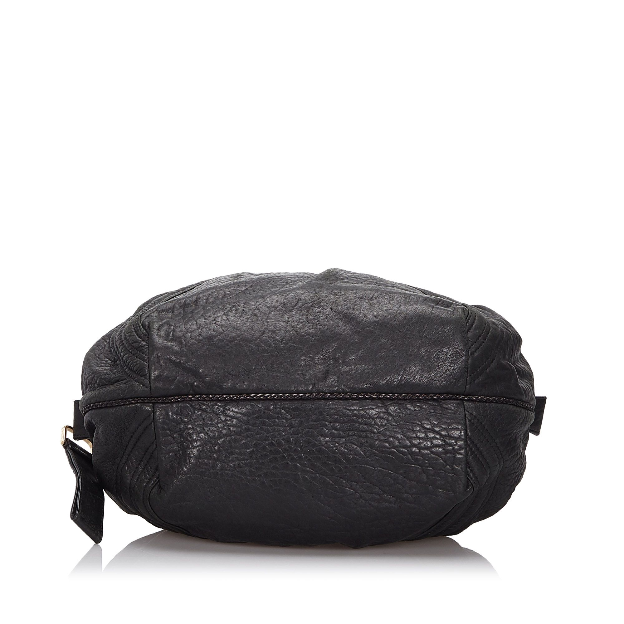 Vintage Fendi Leather Mini Spy Hobo Bag Black