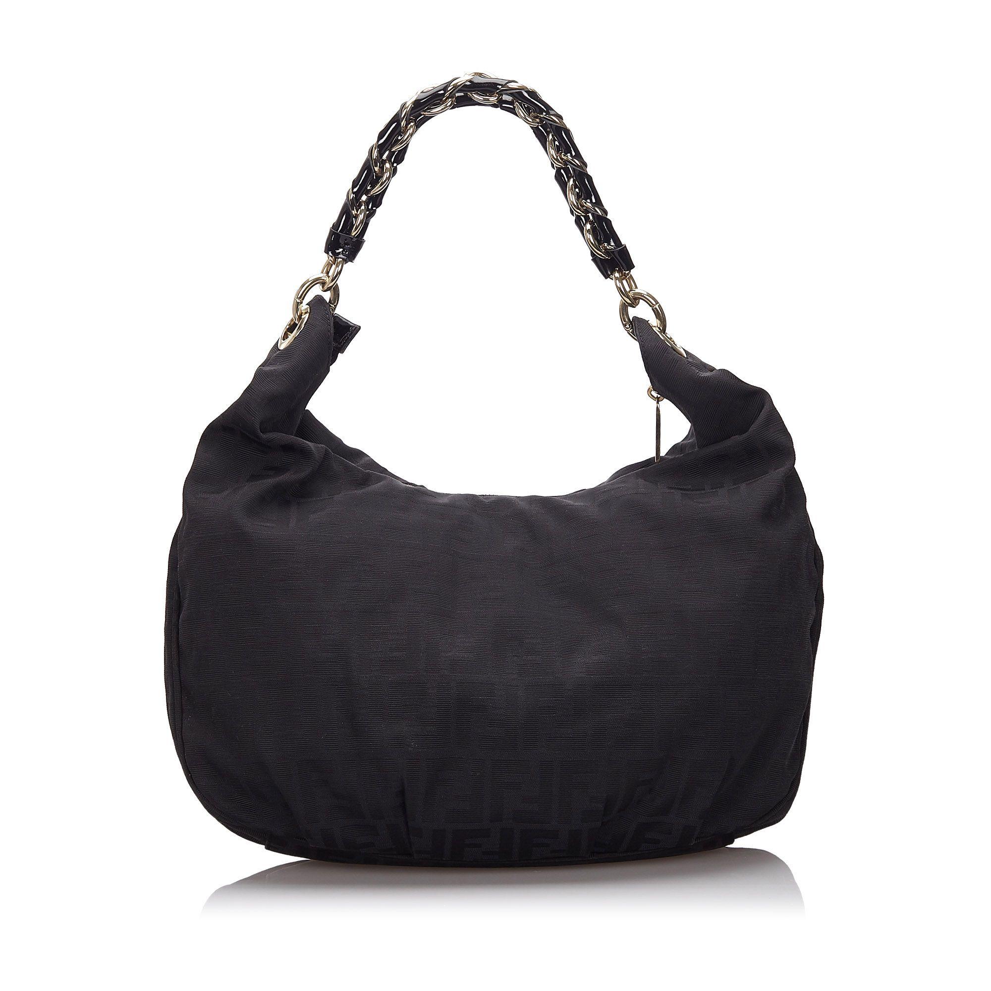 Vintage Fendi Zucca Canvas Mia Shoulder Bag Black
