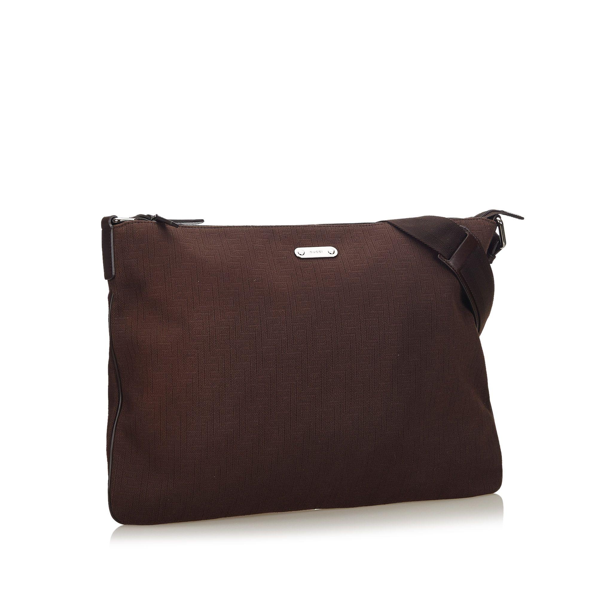 Vintage Gucci Cotton Crossbody Bag Brown