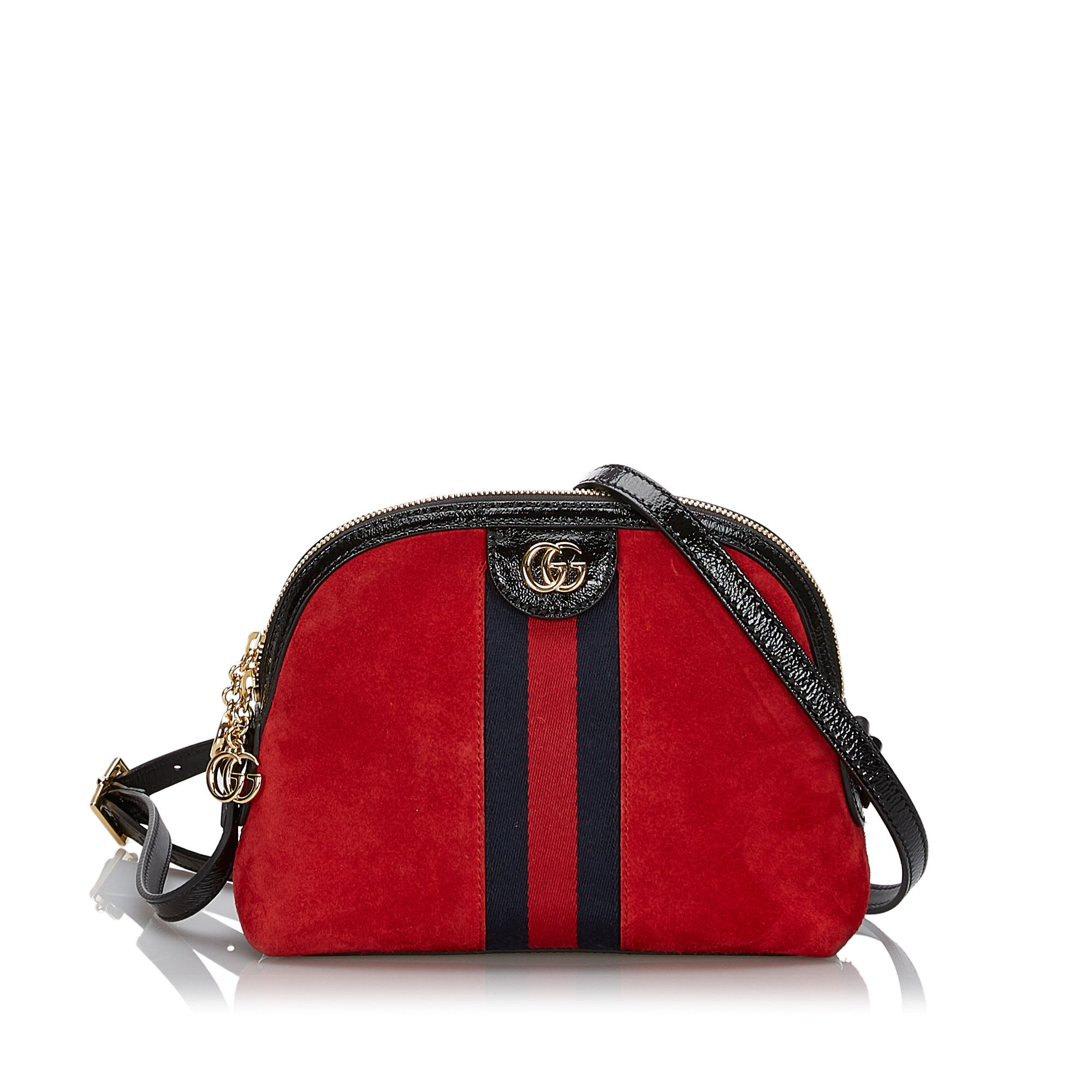 Vintage Gucci Small Suede Ophidia Crossbody Bag Red