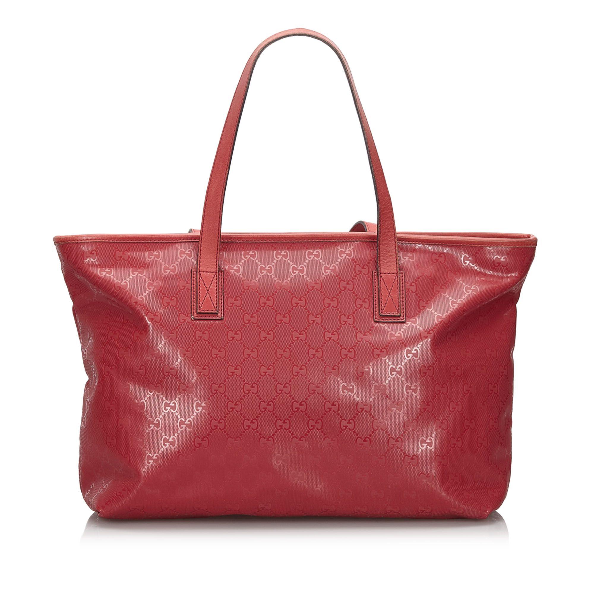 Vintage Gucci GG Imprime Tote Bag Red