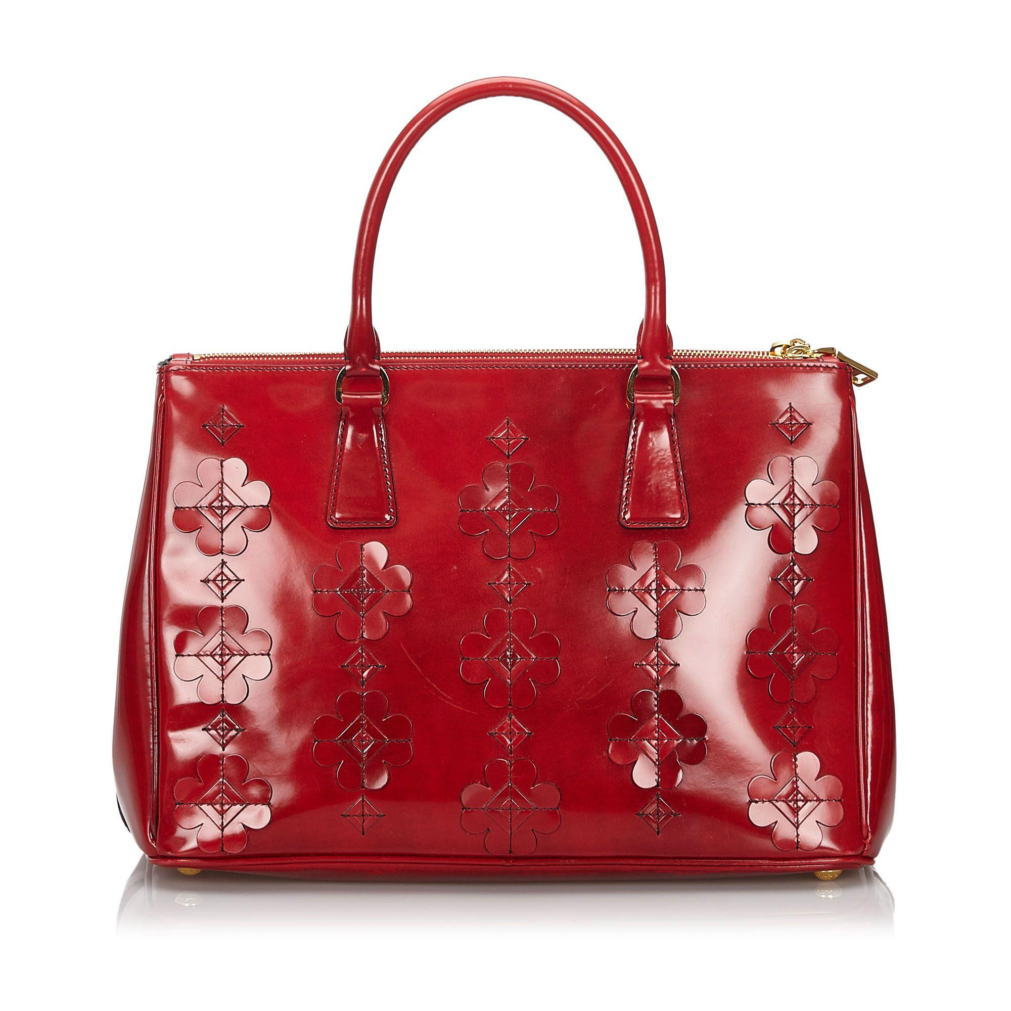 Vintage Prada Spazzolato Flowers Galleria Handbag Red