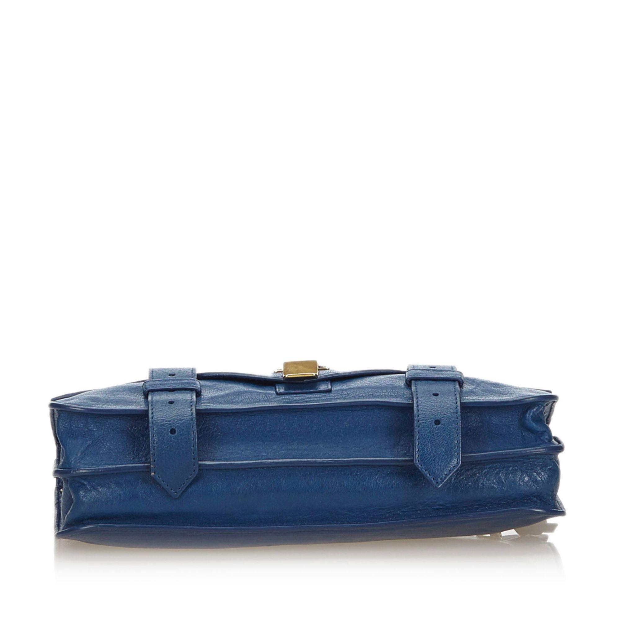 Vintage Proenza Schouler Leather PS1 Pochette Clutch Blue