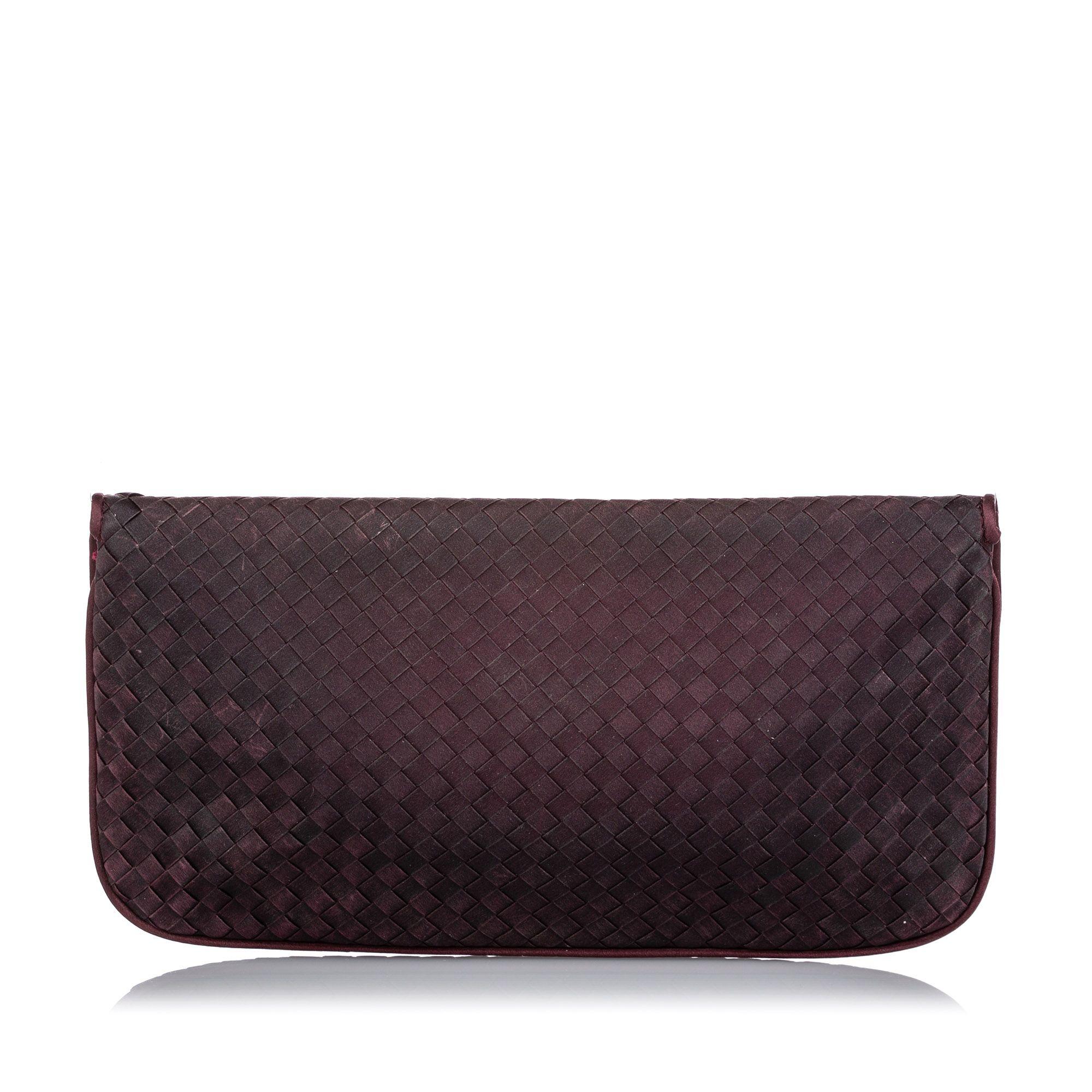 Vintage Bottega Veneta Intrecciato Nylon Clutch Bag Purple