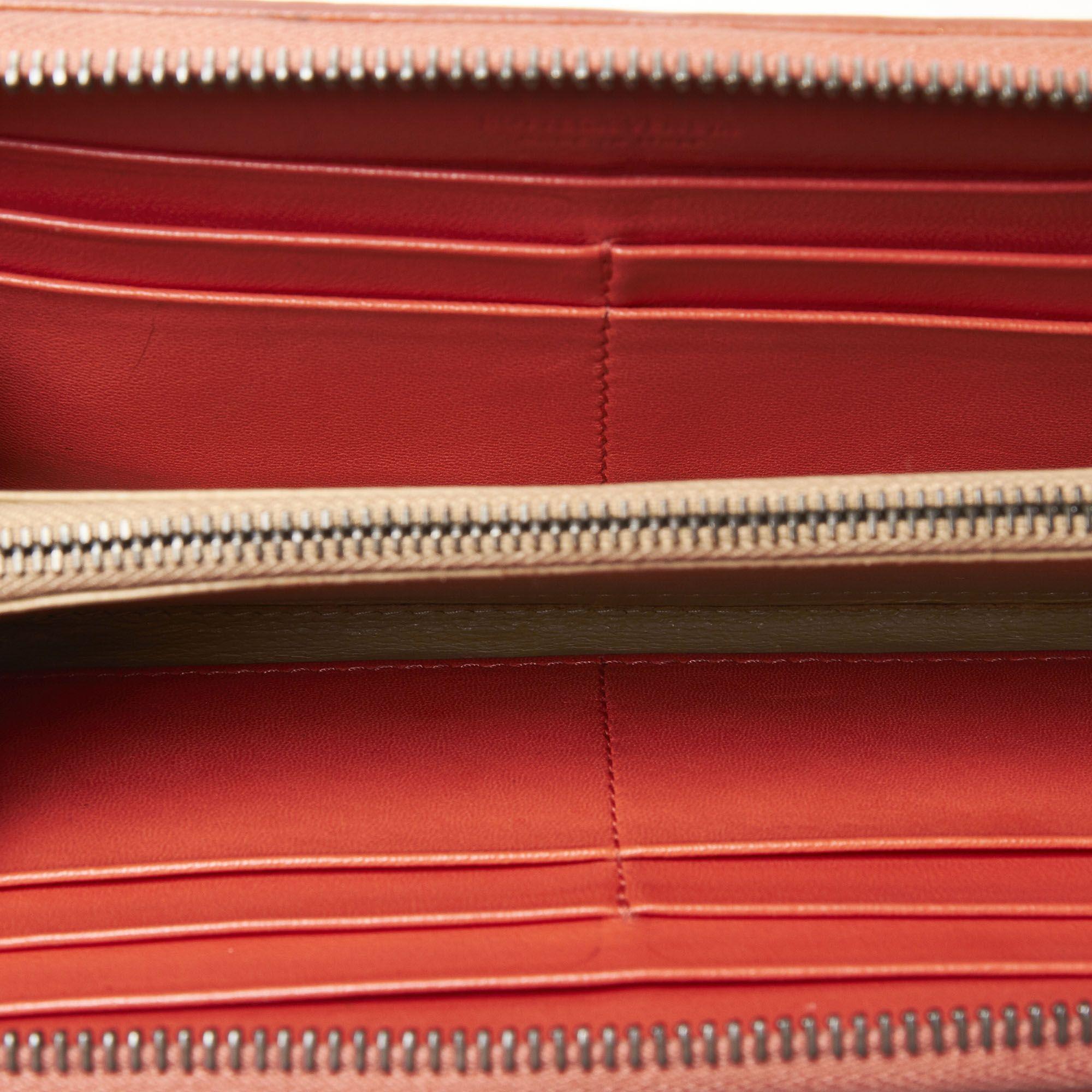 Vintage Bottega Veneta Intrecciato Zip Around Wallet Orange