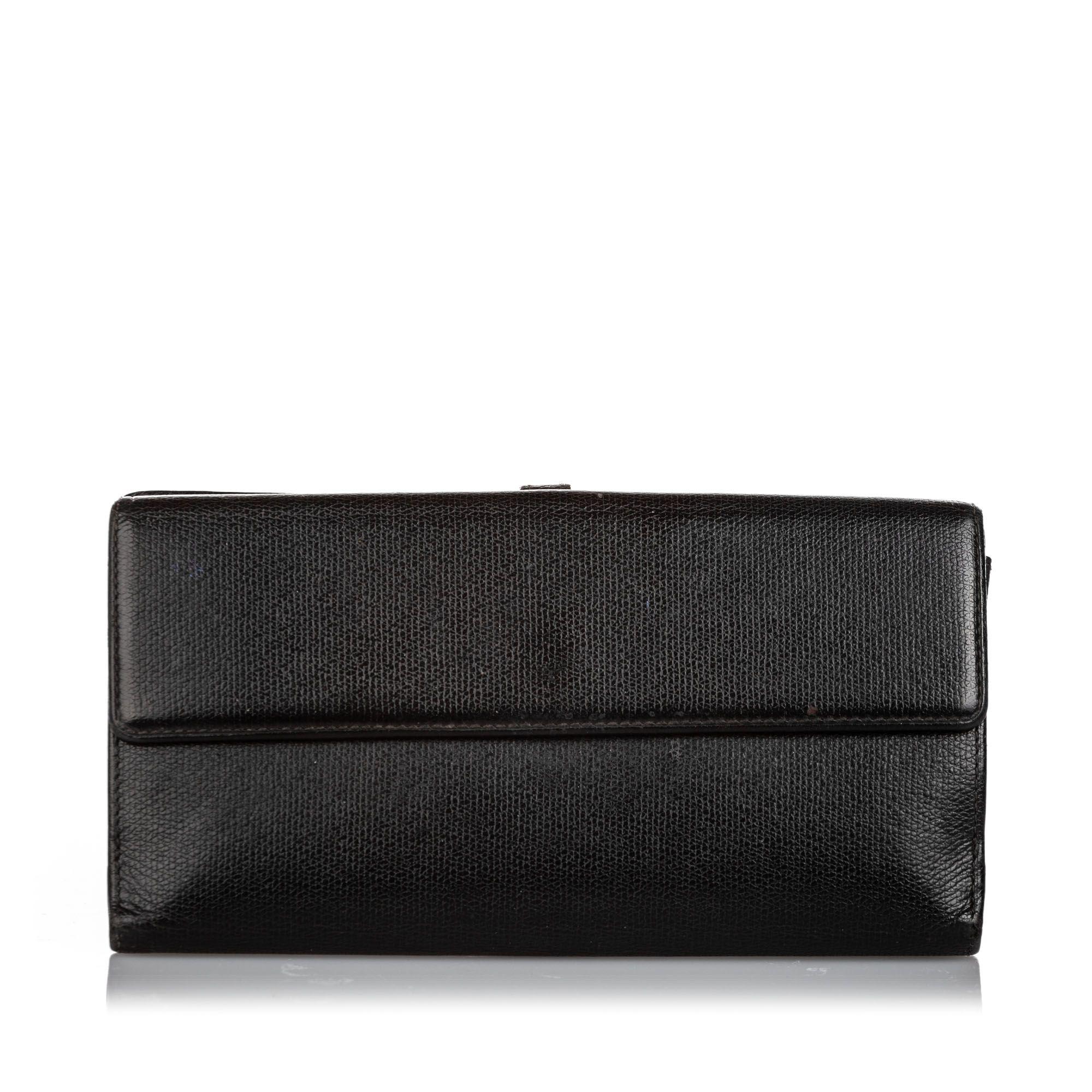 Vintage Chanel Leather Long Wallet Black