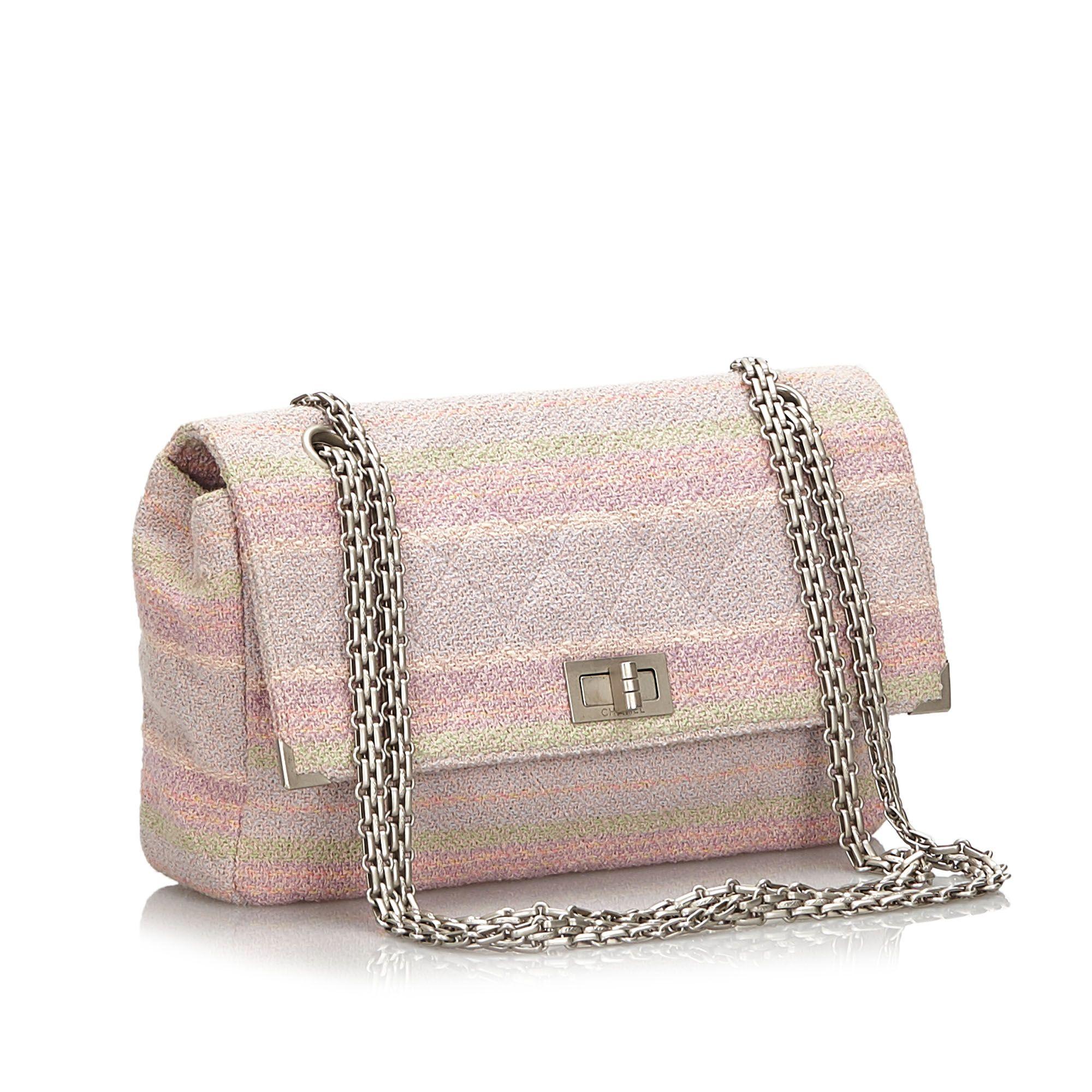 Vintage Chanel Reissue 225 Tweed Single Flap Bag Pink