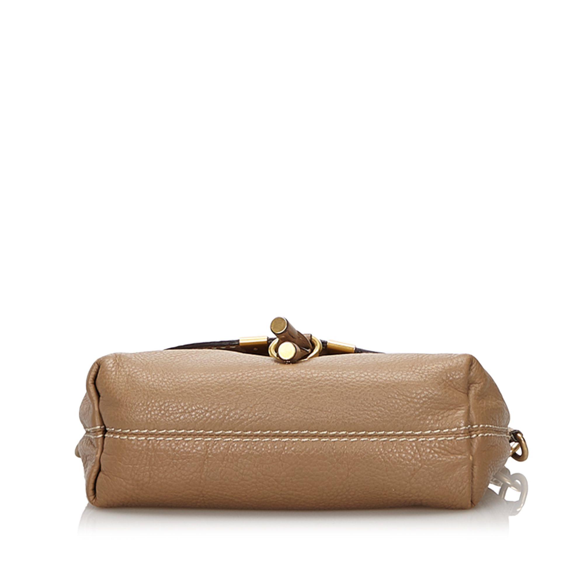 Vintage Chloe Small Leather Marcie Crossbody Bag Brown