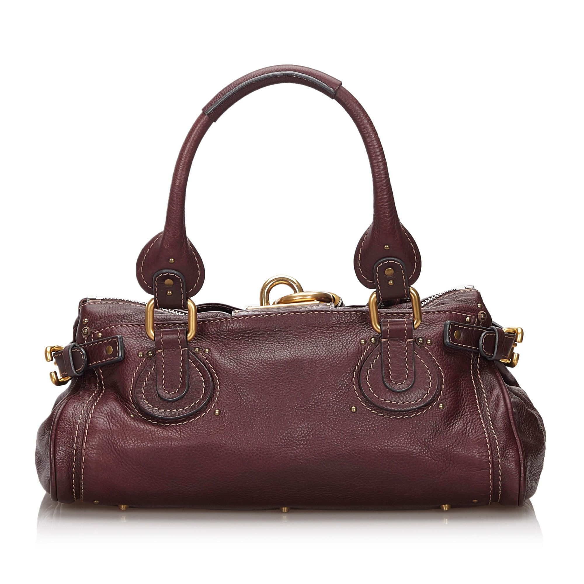 Vintage Chloe Leather Paddington Handbag Red