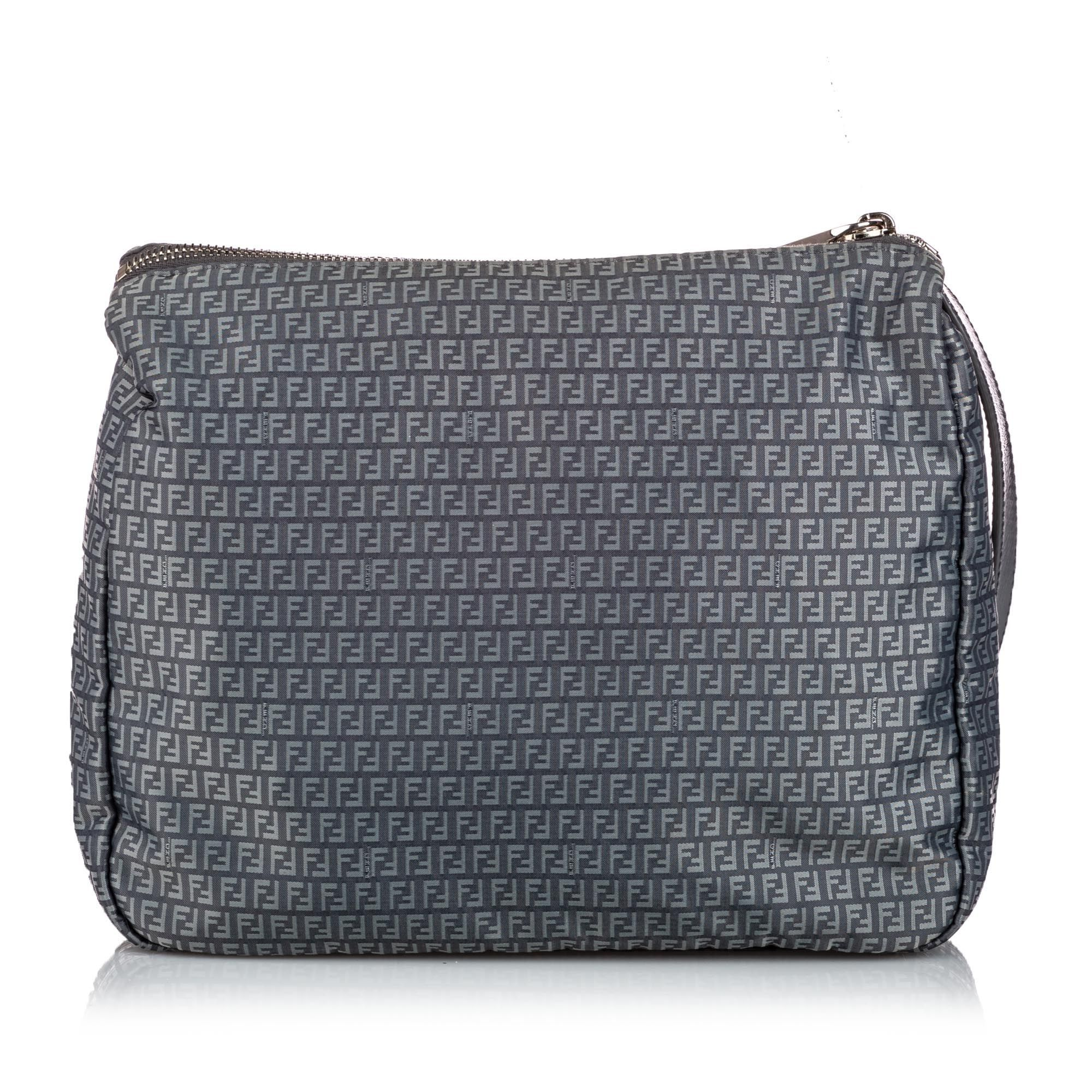 Vintage Fendi Zucchino Nylon Crossbody Bag Gray