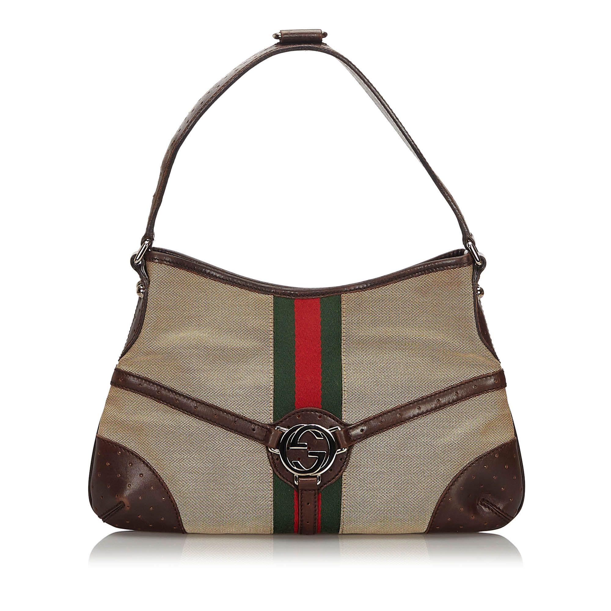 Vintage Gucci Web Canvas Reins Hobo Brown