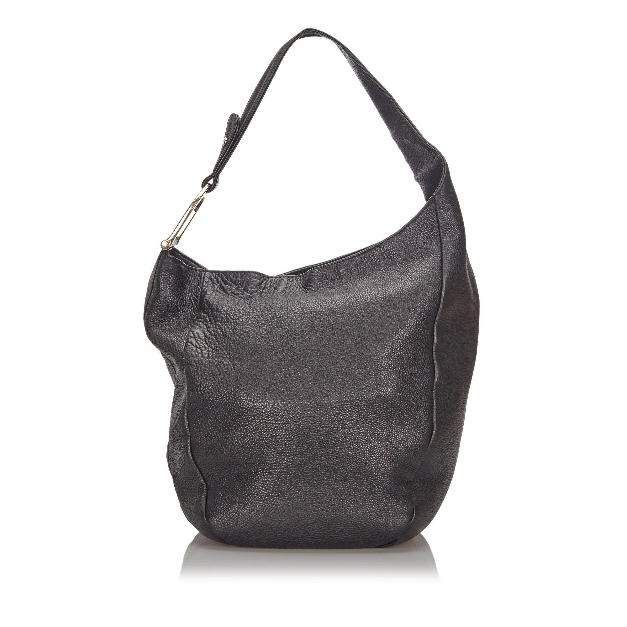 Vintage Gucci Leather Greenwich Shoulder Bag Black