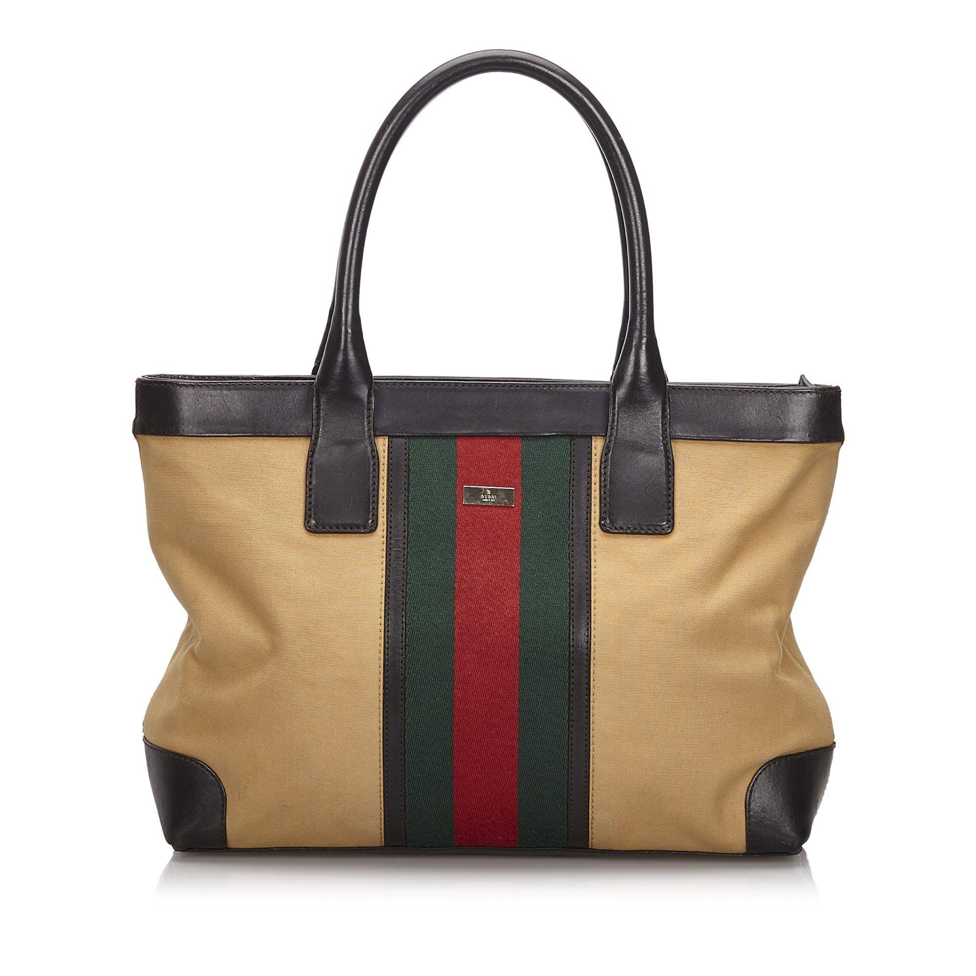 Vintage Gucci Web Canvas Tote Bag Brown