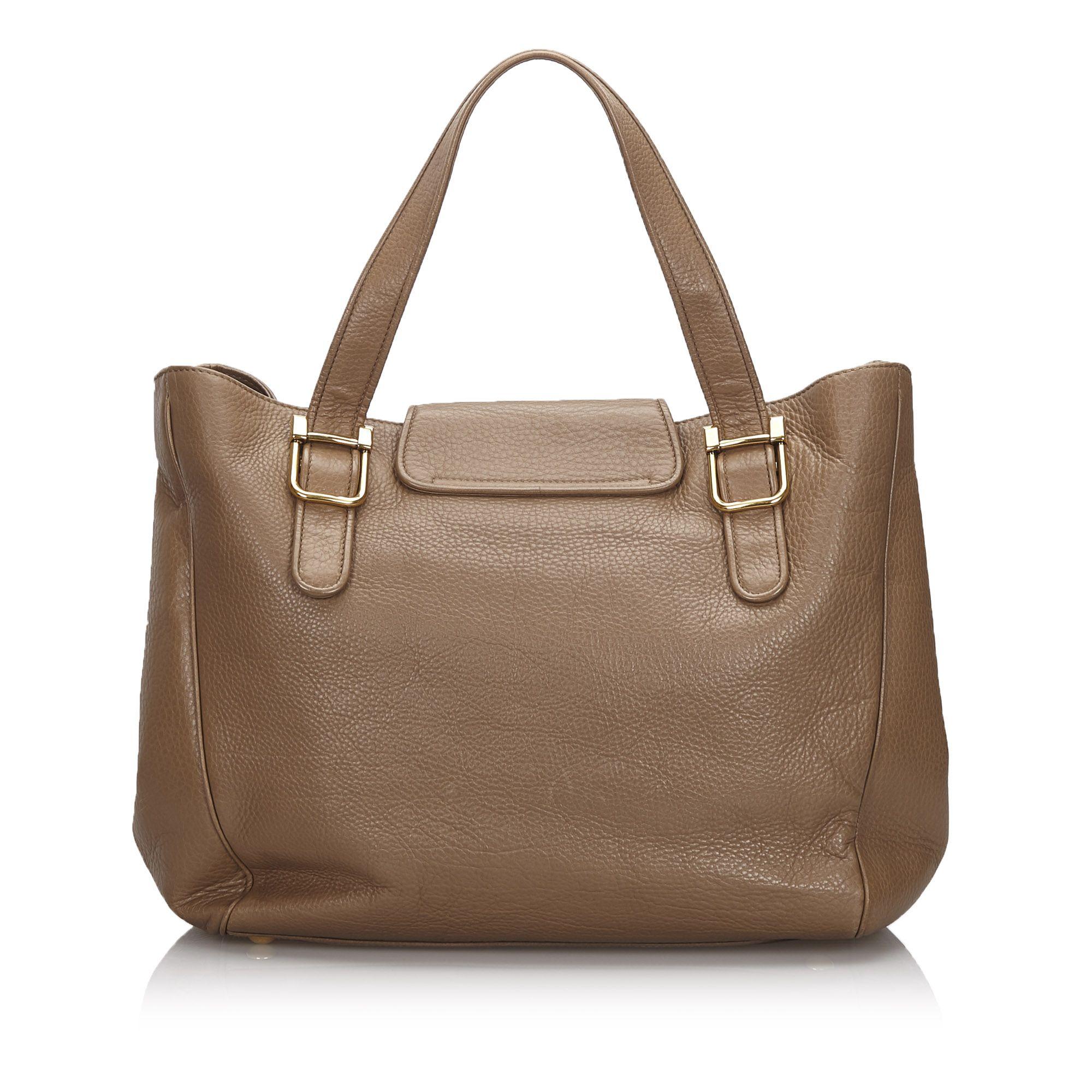 Vintage Gucci 1973 Leather Tote Bag Brown