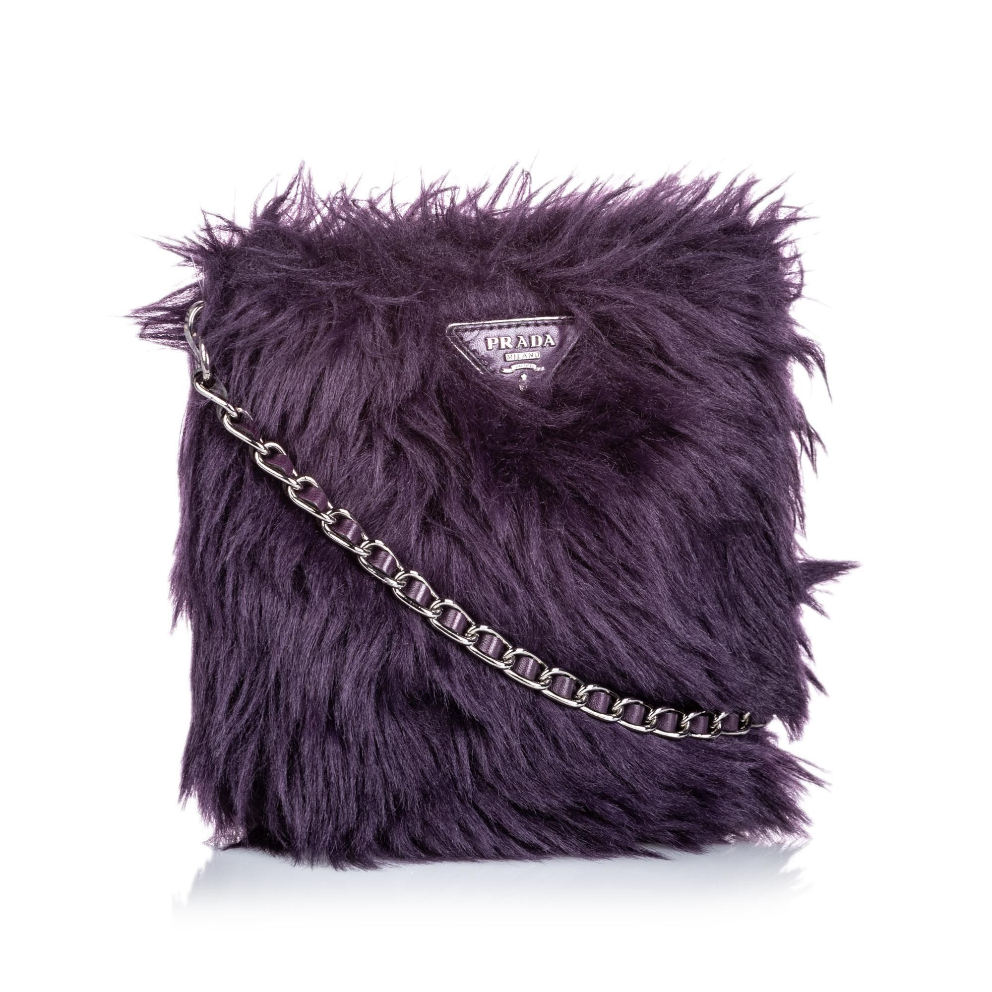Vintage Prada Fur Crossbody Bag Purple