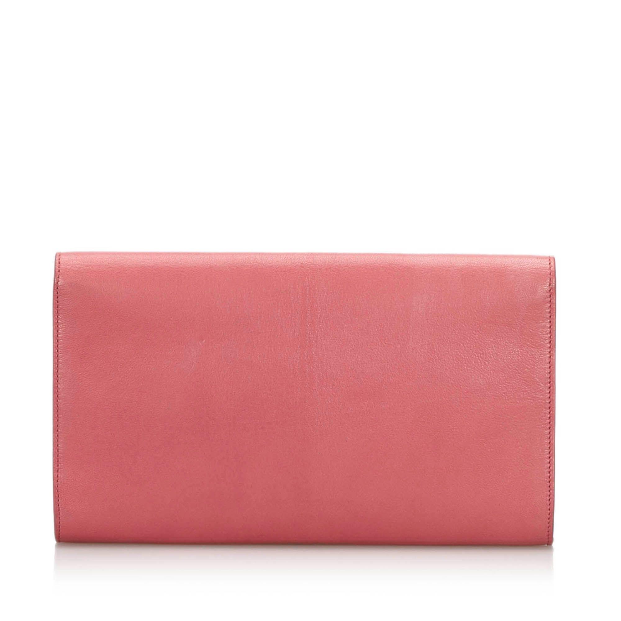 Vintage YSL Leather Belle du Jour Clutch Bag Pink