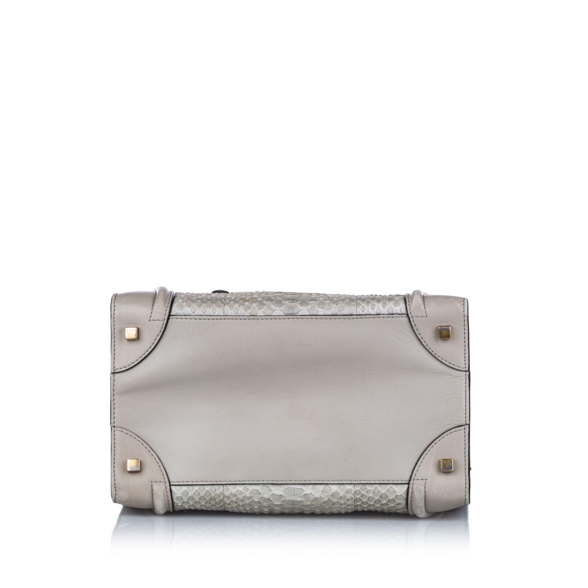 Vintage Celine Medium Python Luggage Tote Gray