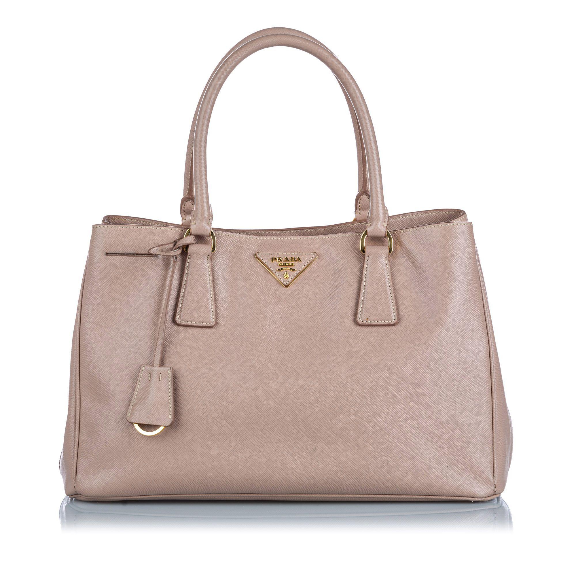 Vintage Prada Leather Saffiano Galleria Handbag Brown