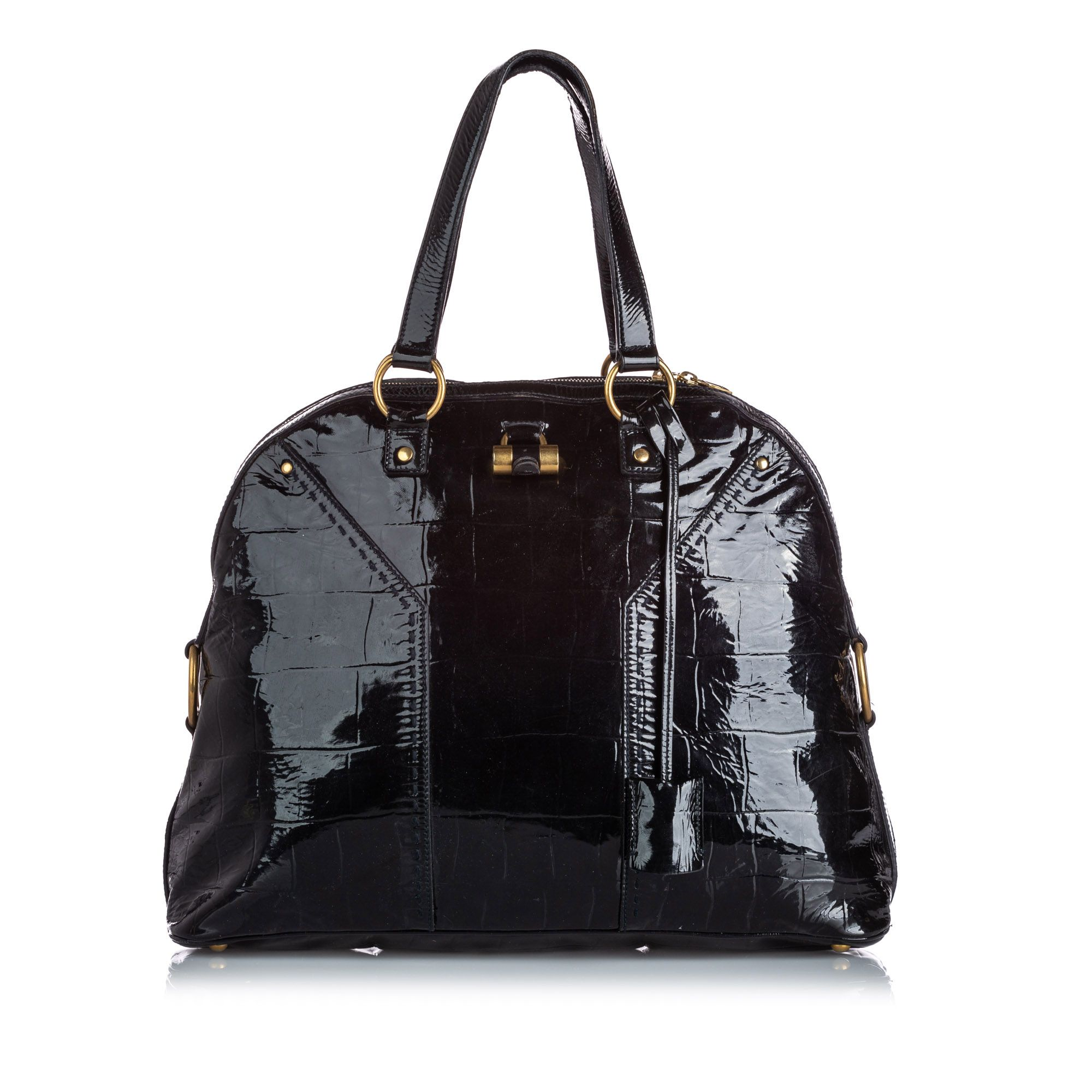 Vintage YSL Patent Leather Muse Handbag Black