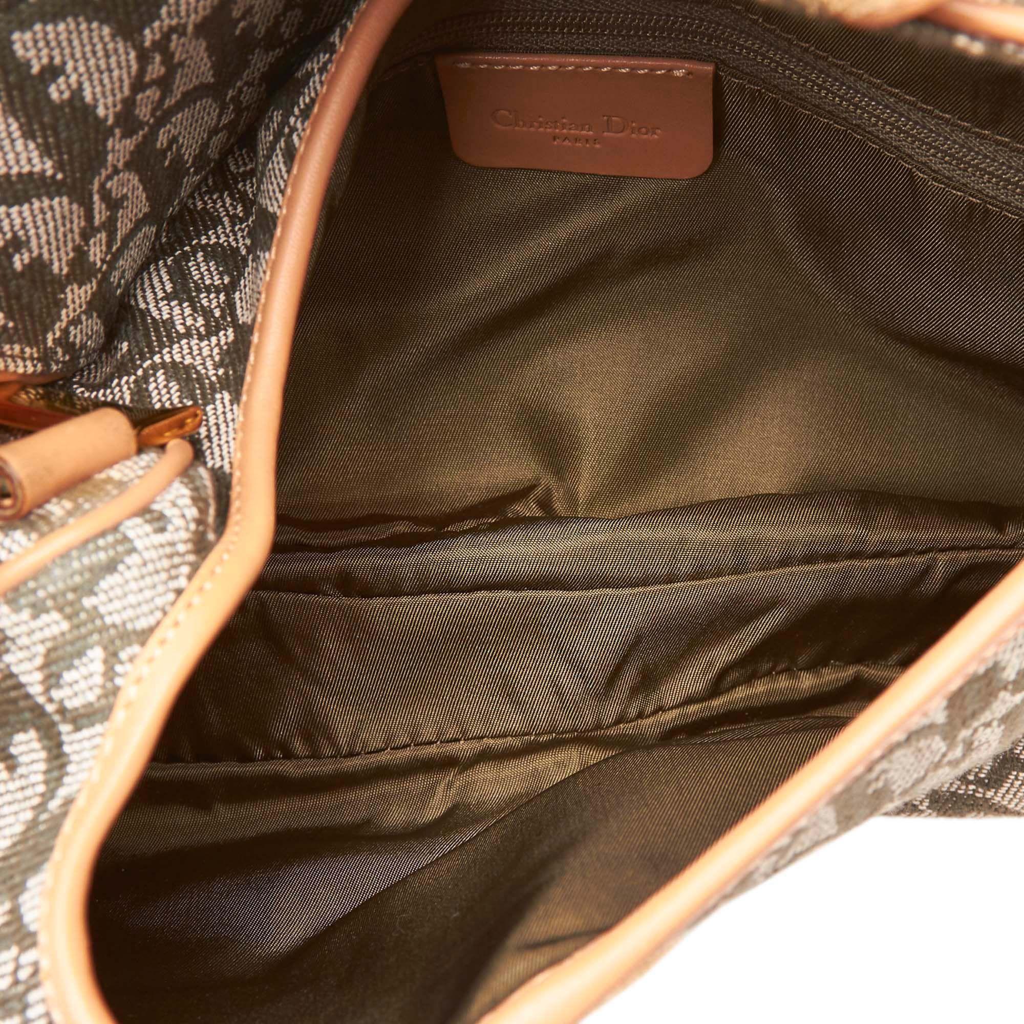 Vintage Dior Dior Oblique Canvas Double Saddle Brown