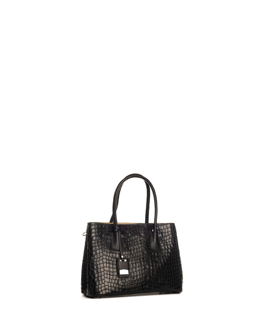 Allia black leather shopper