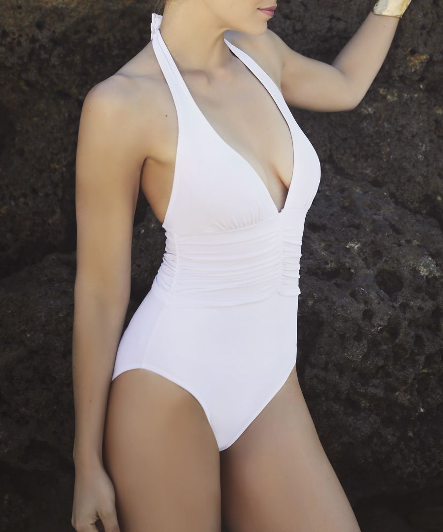 White halter swimsuit