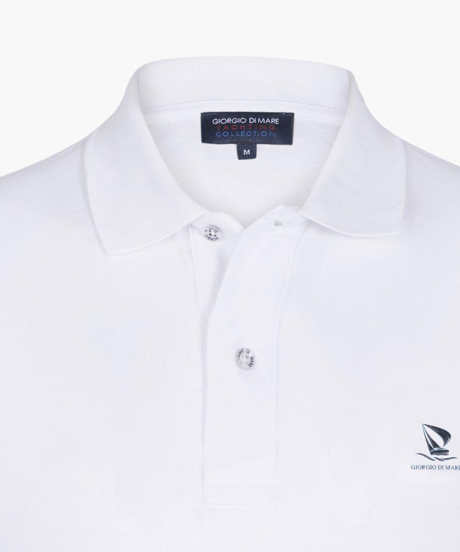 White pure cotton basic polo shirt
