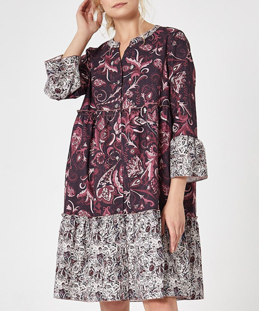 Multi printed button-up tiered dress