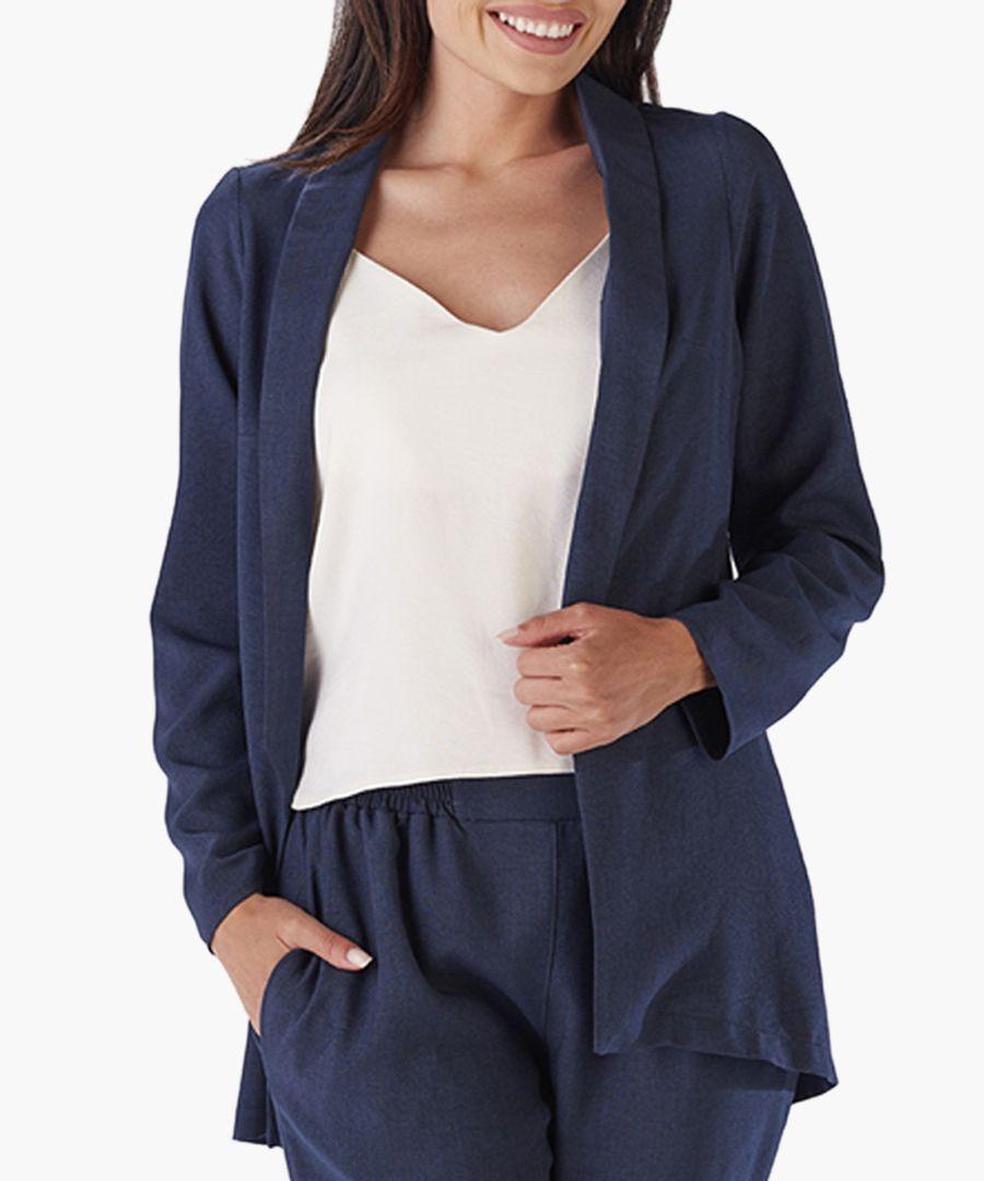 Navy and blue shawl collar blazer