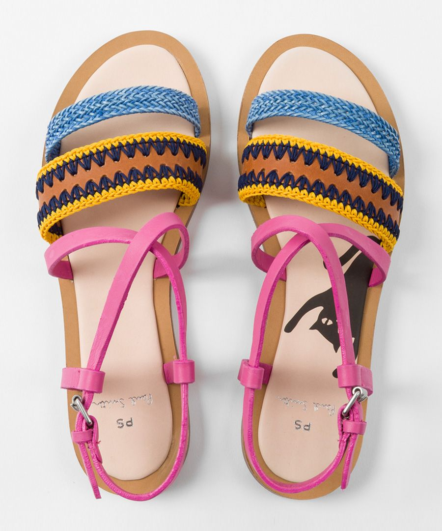 Multi-coloured leather printed sandals