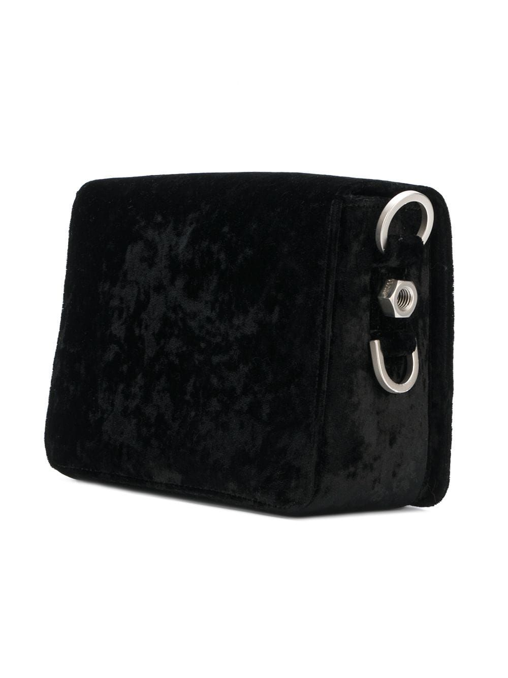 Vintage Off White Velour Flap Crossbody Bag Black