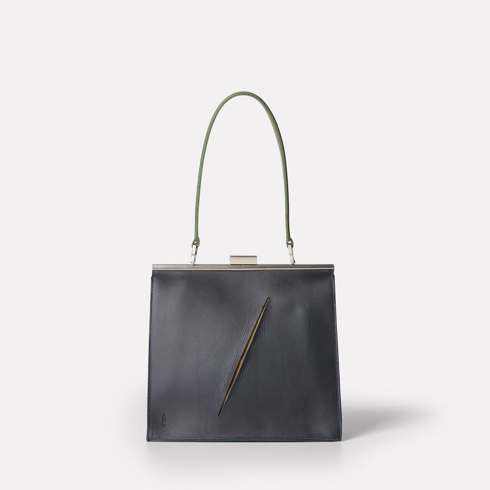 Braidy Slash Leather Frame Shoulder Bag in Navy/Olive