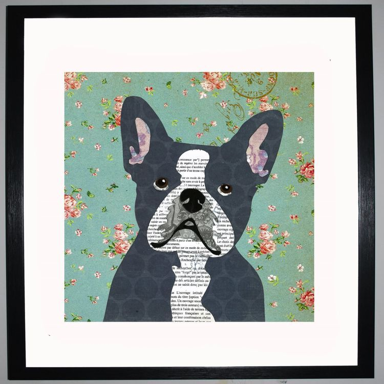 French Bullldog by UK Collage artist and illustrator Clare Thompson