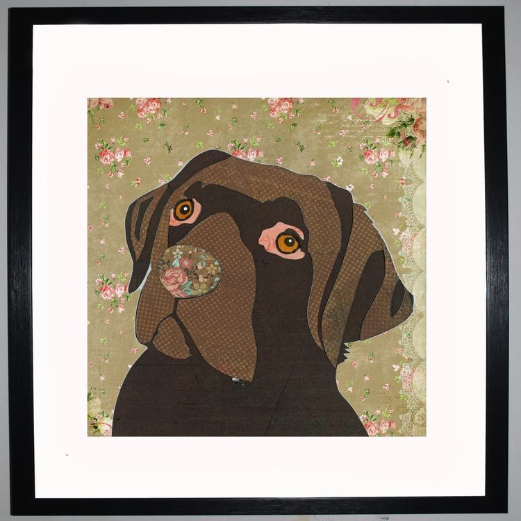 Chocolate Labrador by UK Collage artist and illustrator Clare Thompson