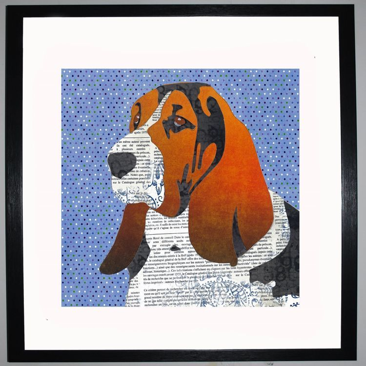 Bassett Hound by UK Collage artist and illustrator Clare Thompson